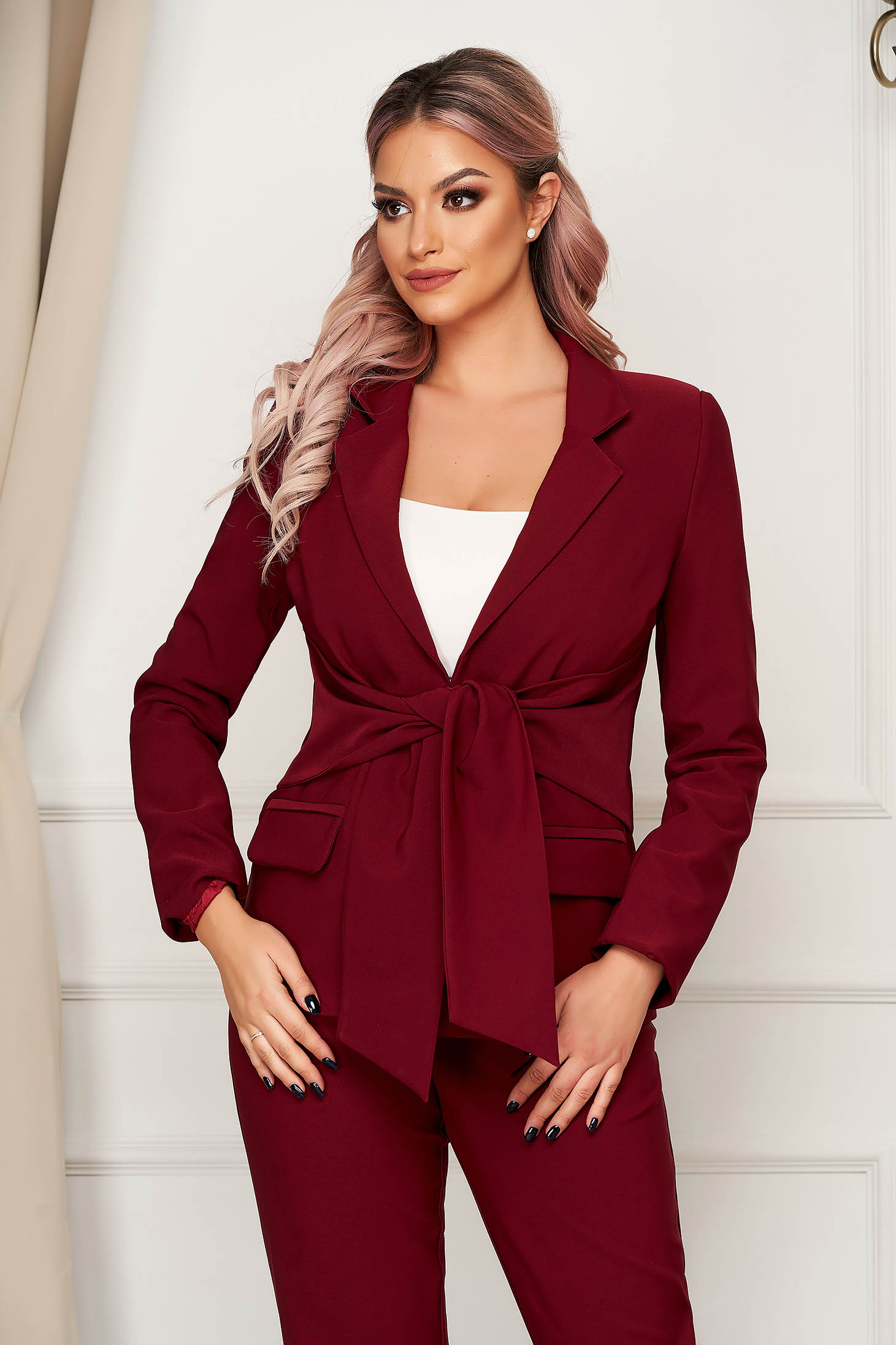 Burgundy jacket office straight slightly elastic fabric