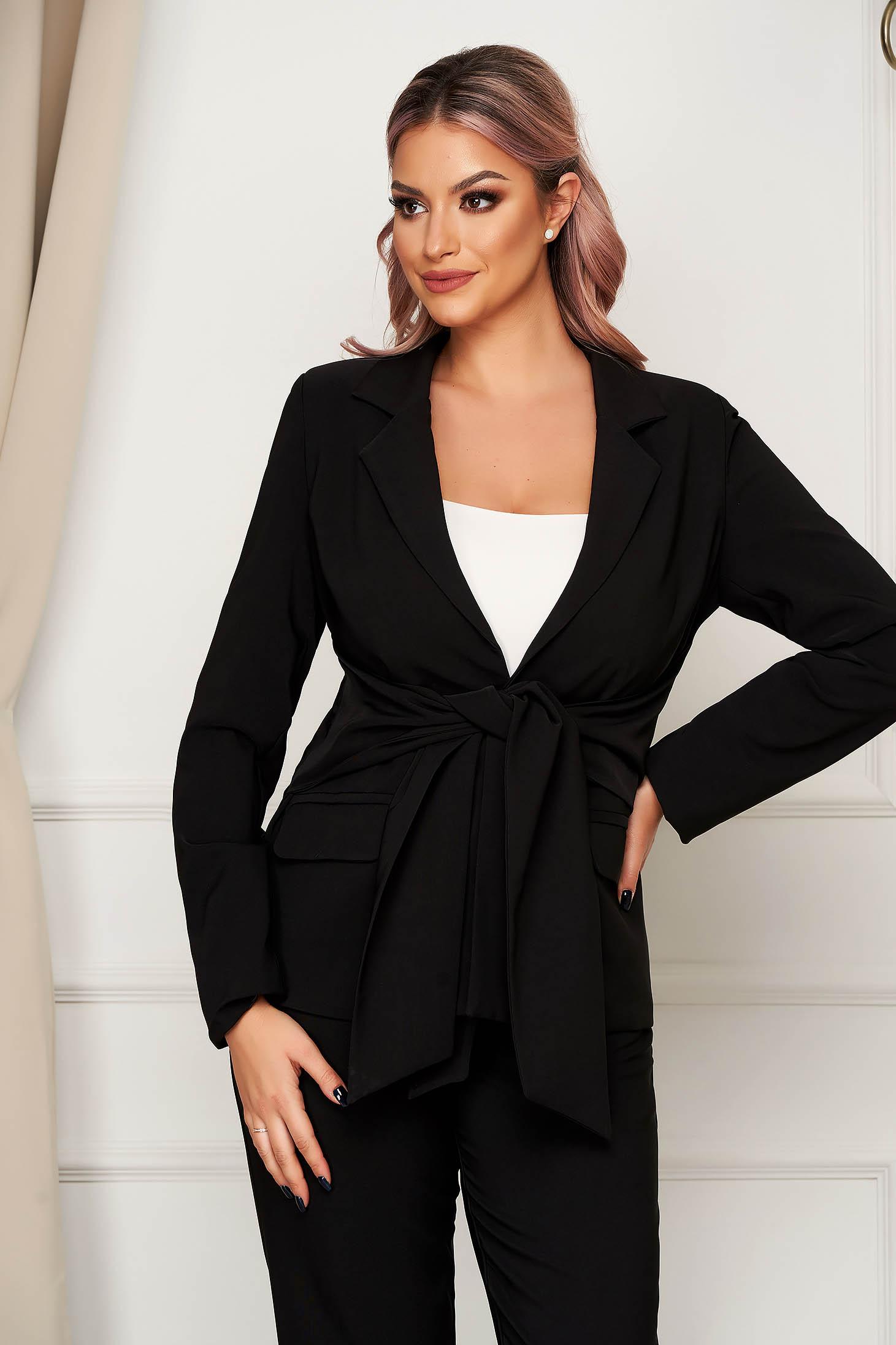 Black jacket office straight slightly elastic fabric