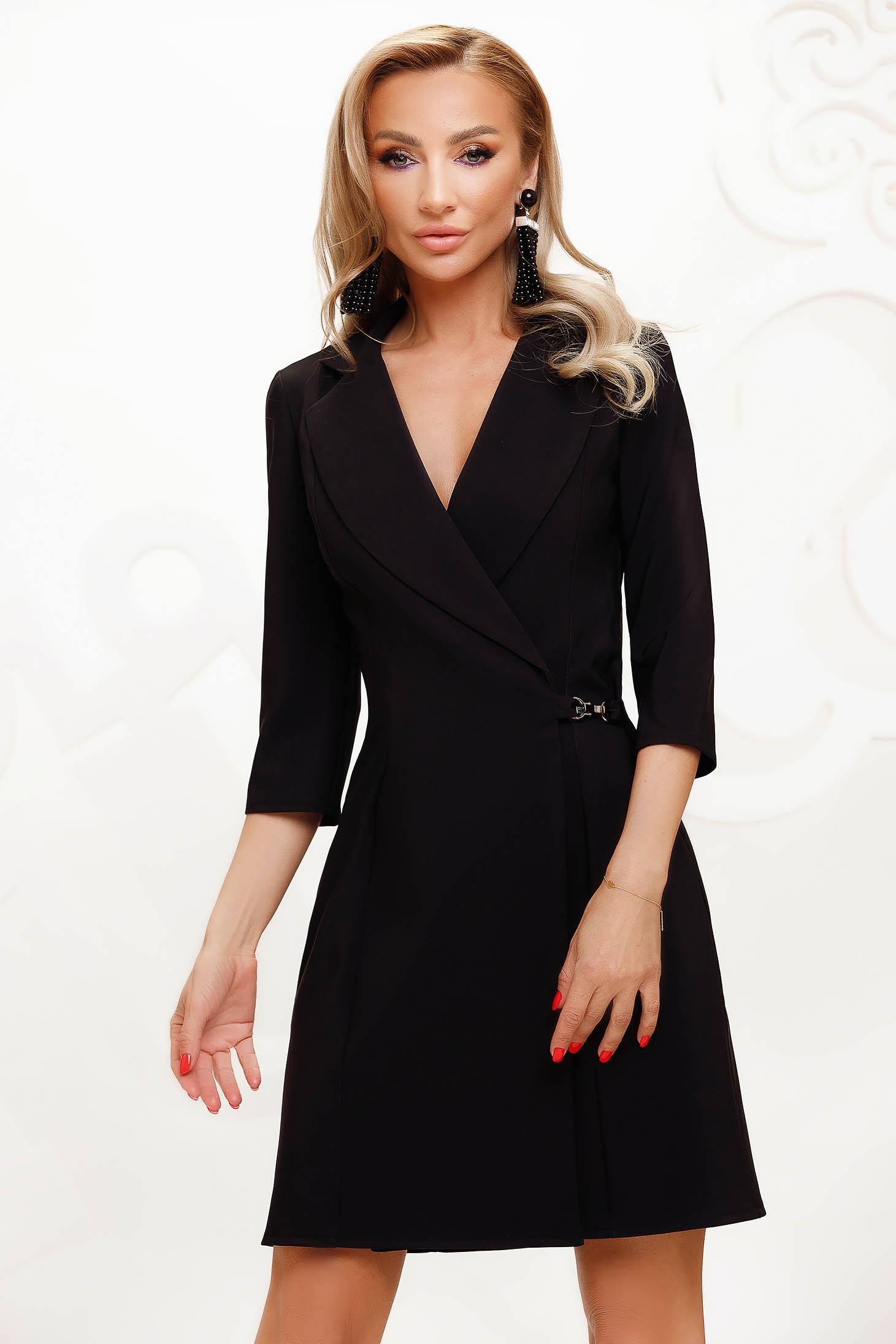 Fekete elegáns rövid átlapolt a-vonalú ruha vékony szövetből