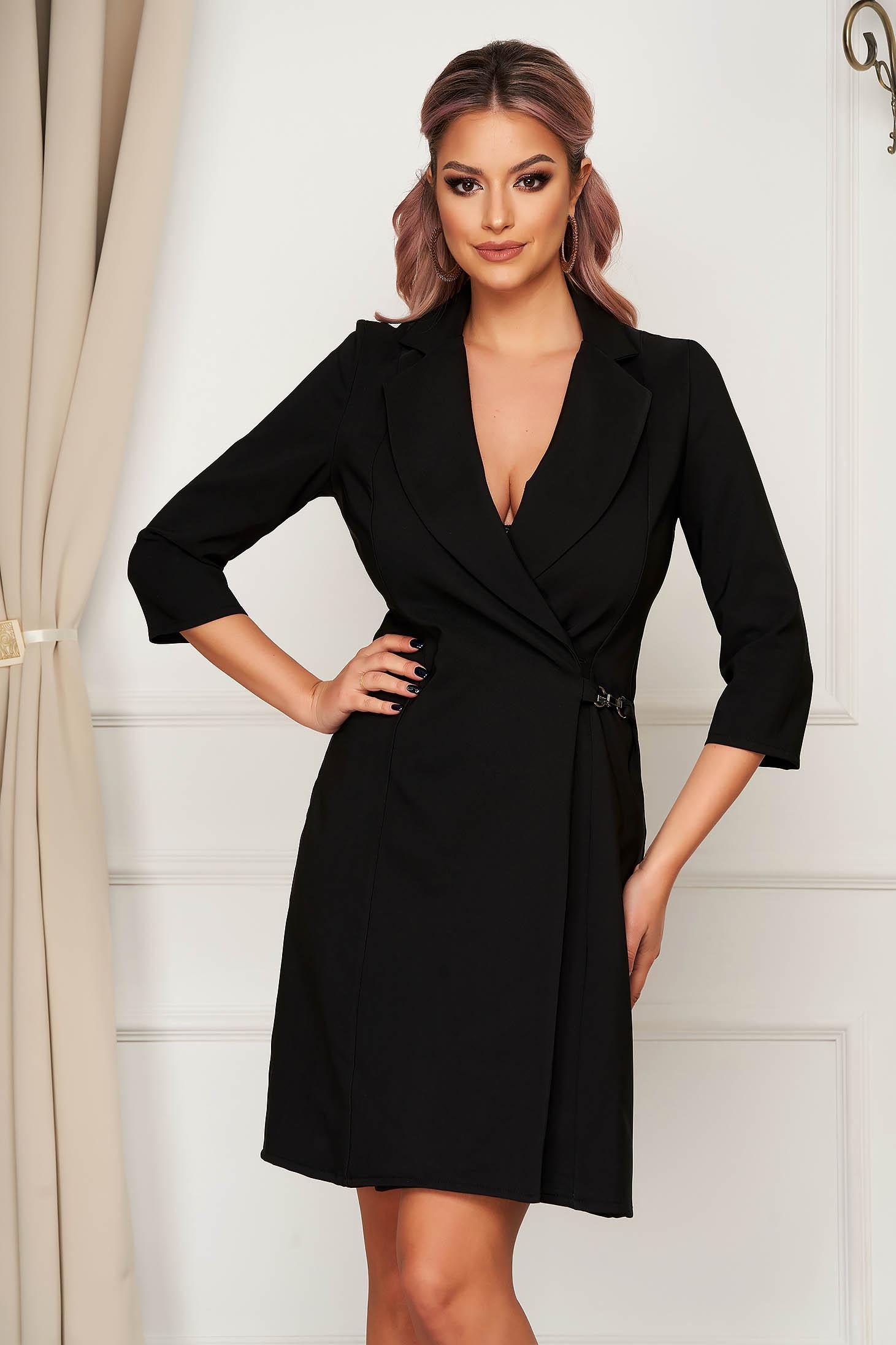 Rochie Artista neagra cu croi in a eleganta scurta petrecuta din stofa material subtire