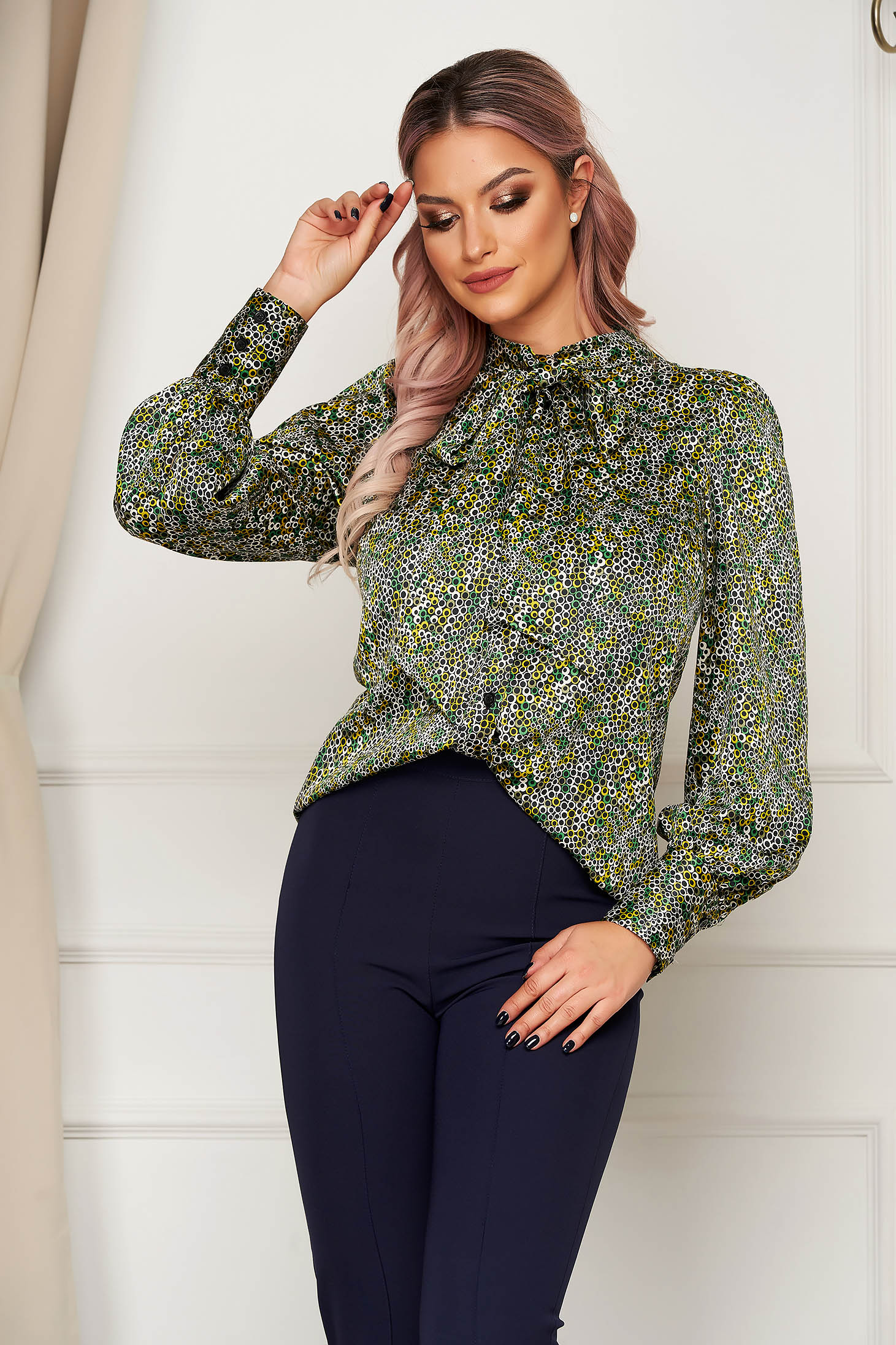 Green women`s blouse office from satin flared