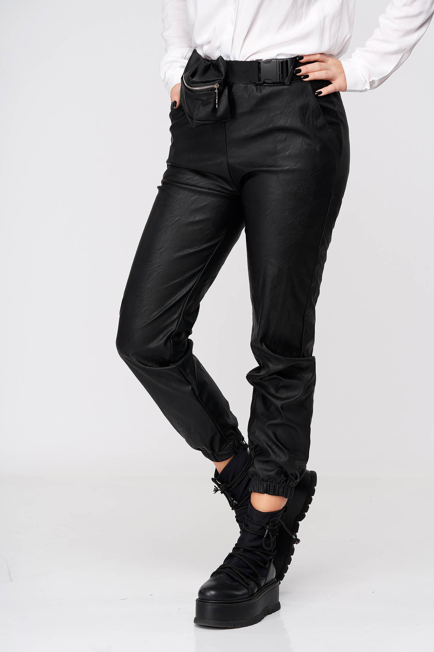 Pantaloni SunShine negri casual din piele ecologica cu talie inalta
