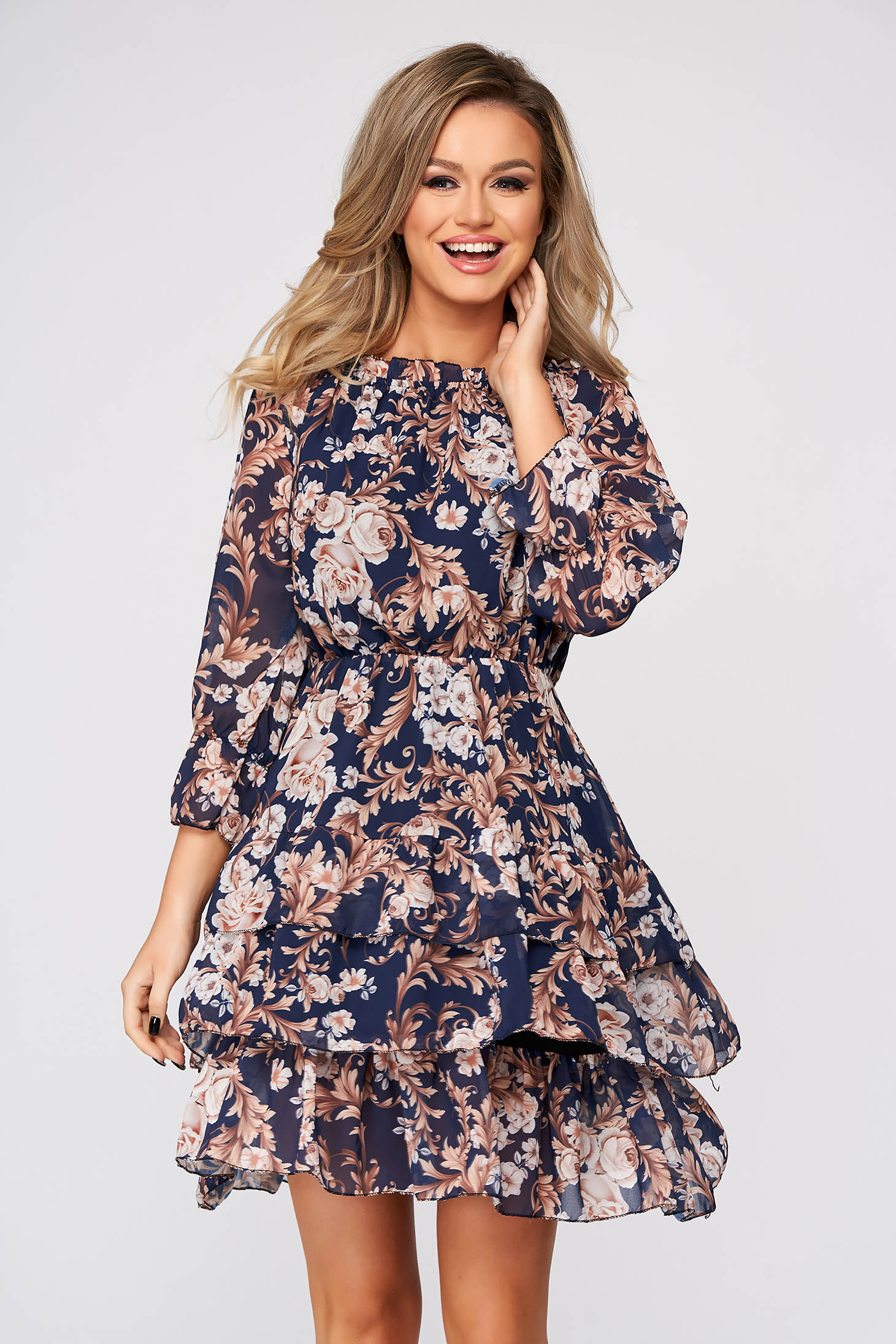 Darkblue dress short cut daily thin fabric off-shoulder