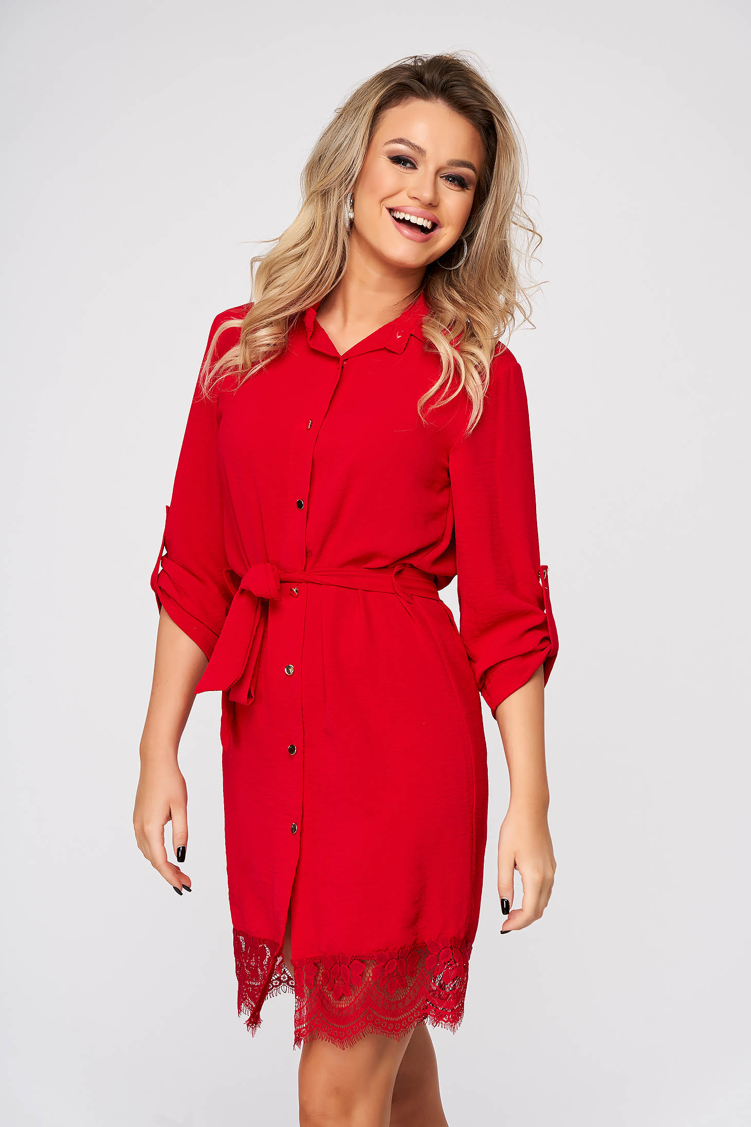 Red dress short cut daily straight with lace details thin fabric