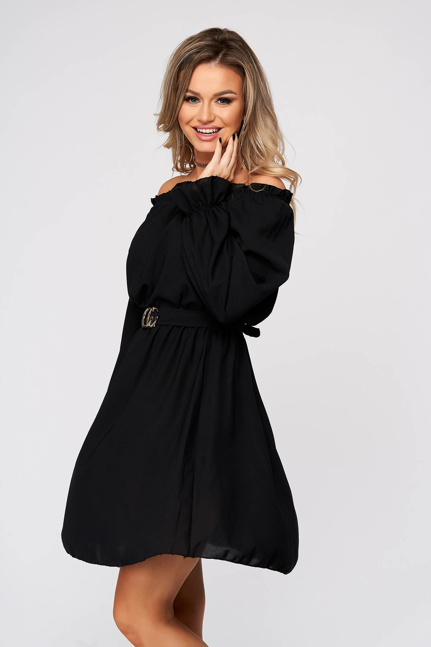 Black dress short cut daily thin fabric naked shoulders straight