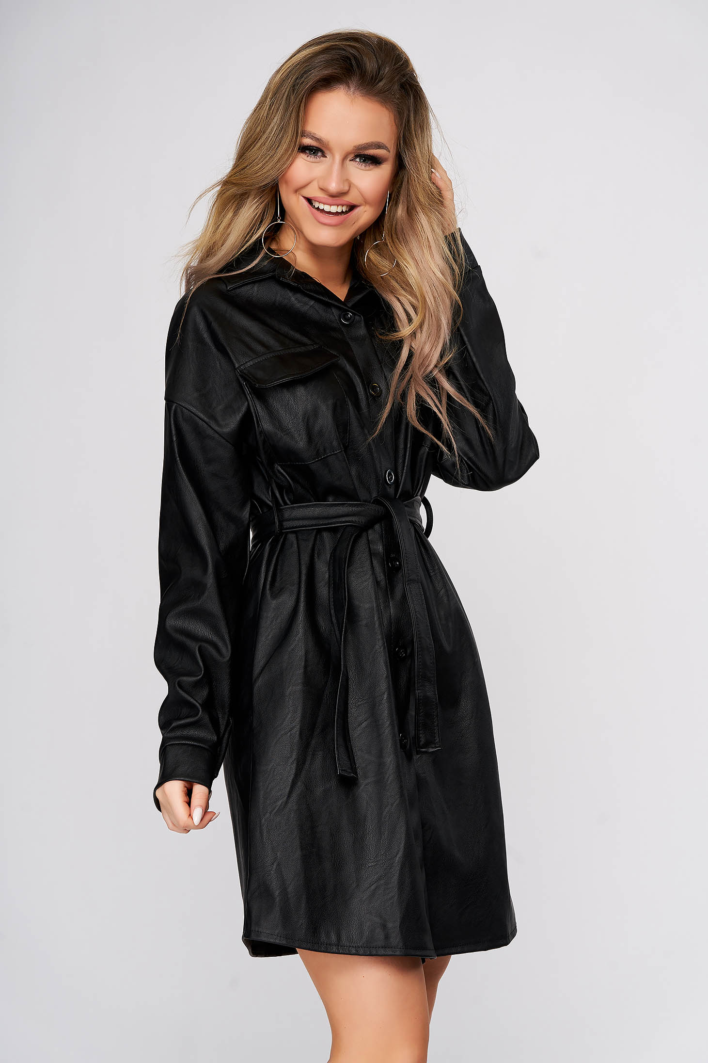 Black dress short cut casual from ecological leather shirt dress