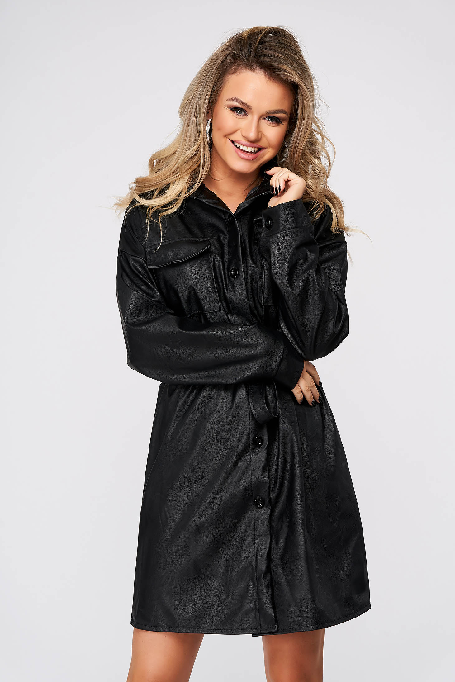 Black dress short cut casual straight from ecological leather shirt dress