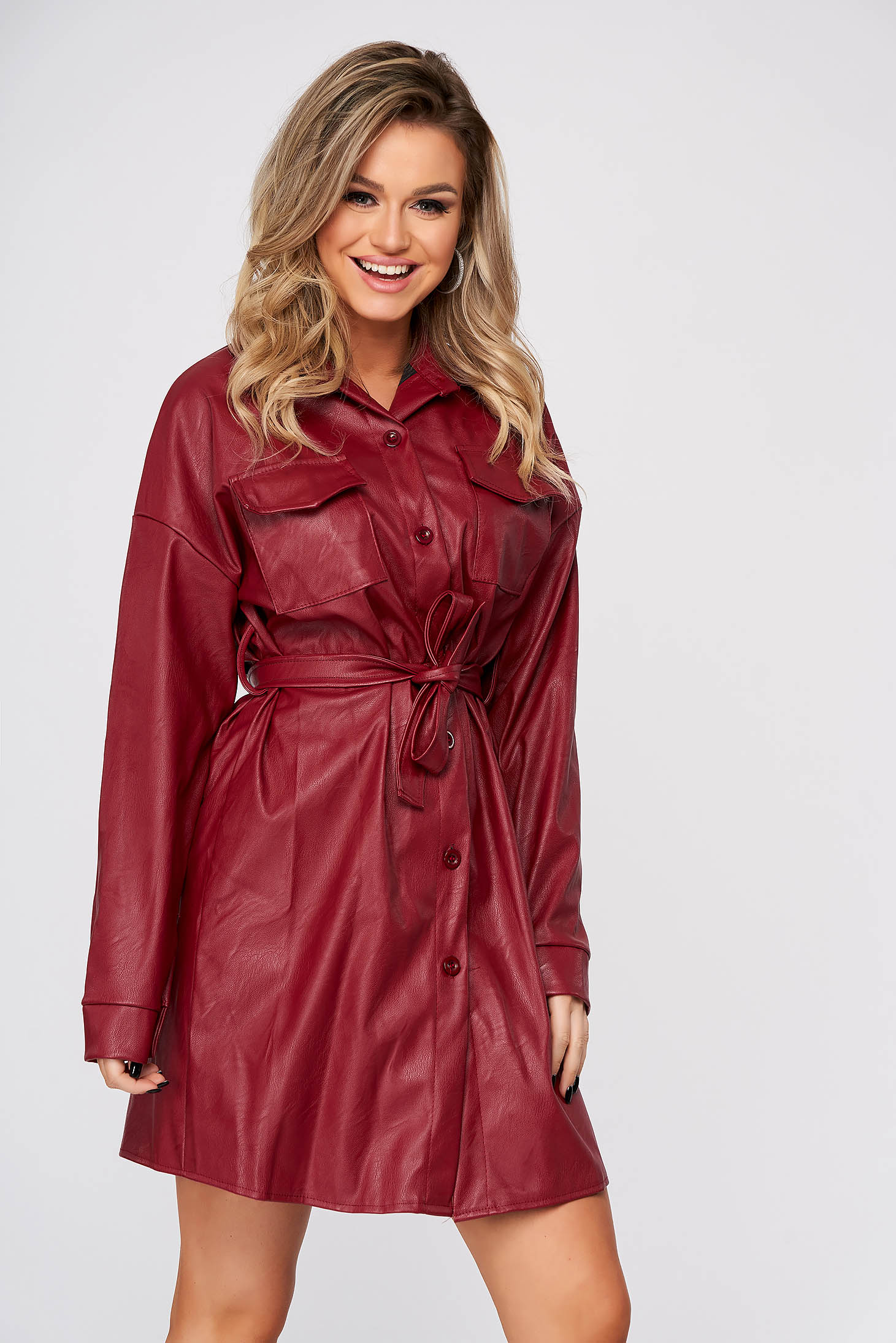 Burgundy dress short cut casual straight from ecological leather shirt dress
