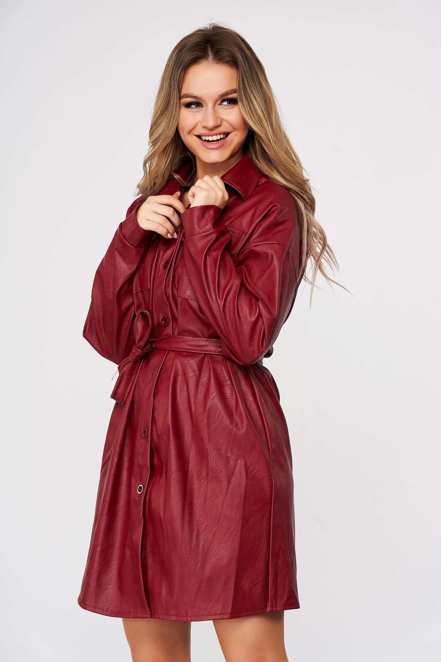 Burgundy rövid egyenes casual ingruha műbőrből