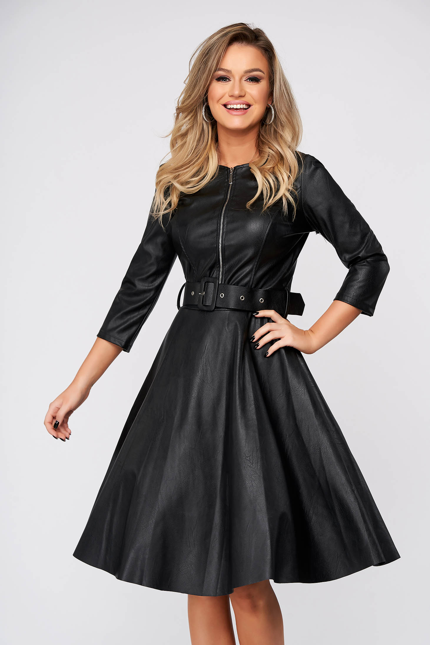 Black dress daily cloche from ecological leather with 3/4 sleeves midi
