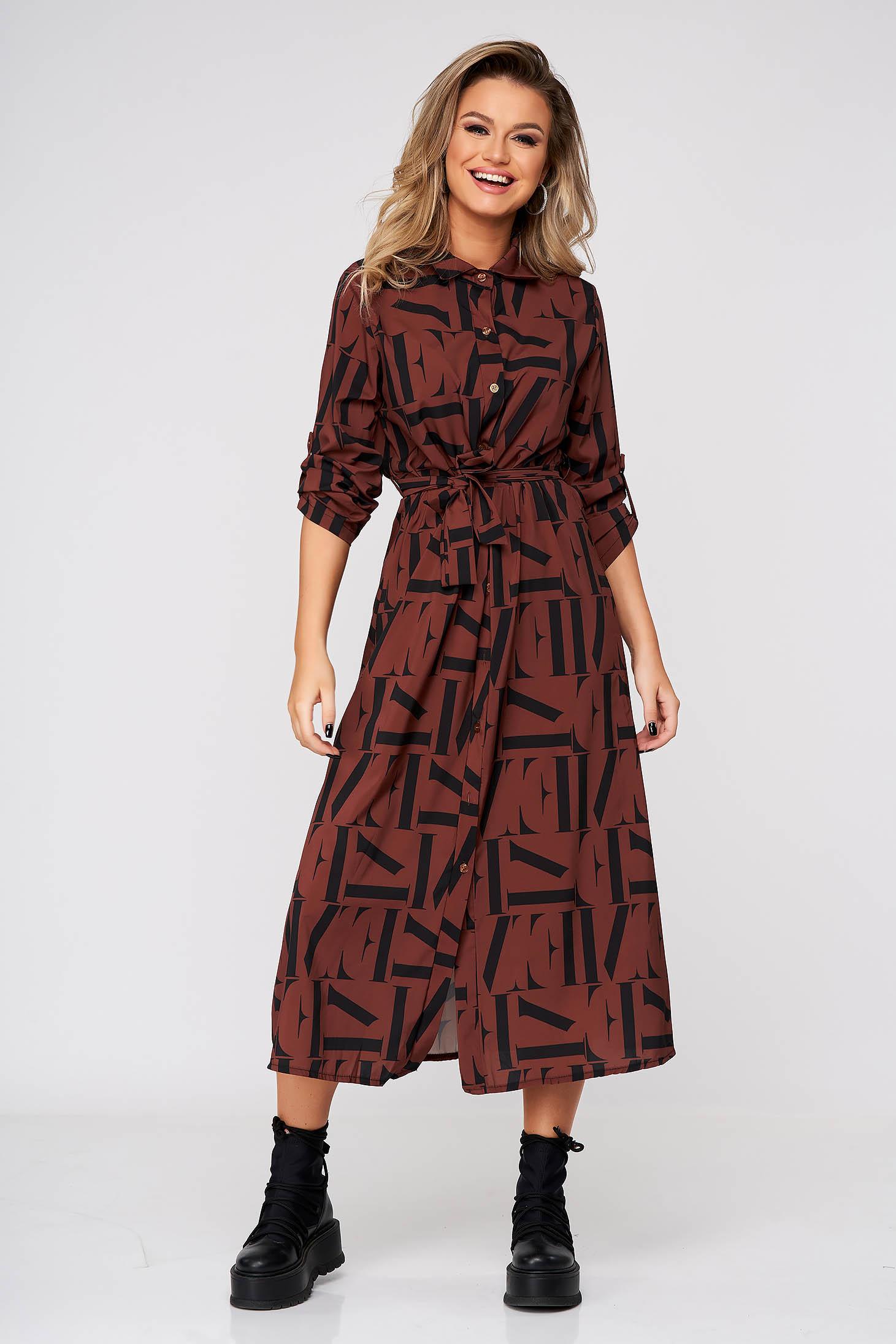 Brown dress midi casual flared thin fabric