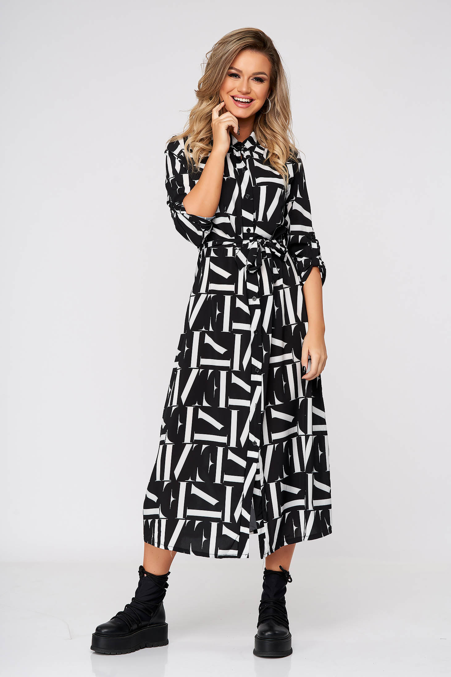 Black dress midi casual flared thin fabric