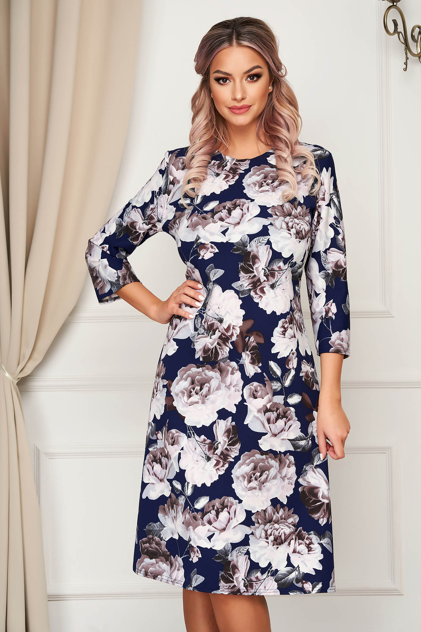 Dress midi daily a-line slightly elastic fabric with floral print
