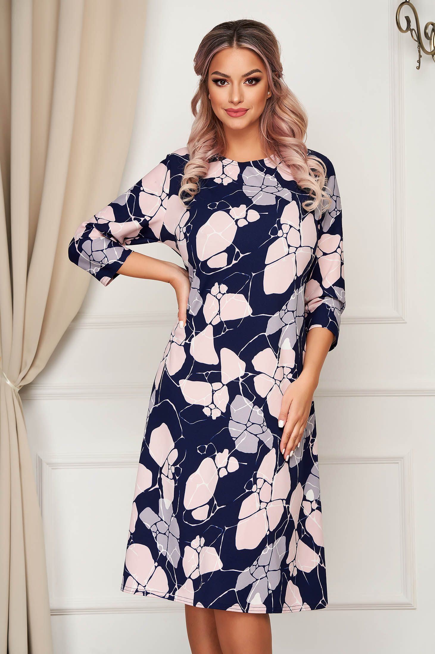 Pink dress midi daily a-line slightly elastic fabric with floral print