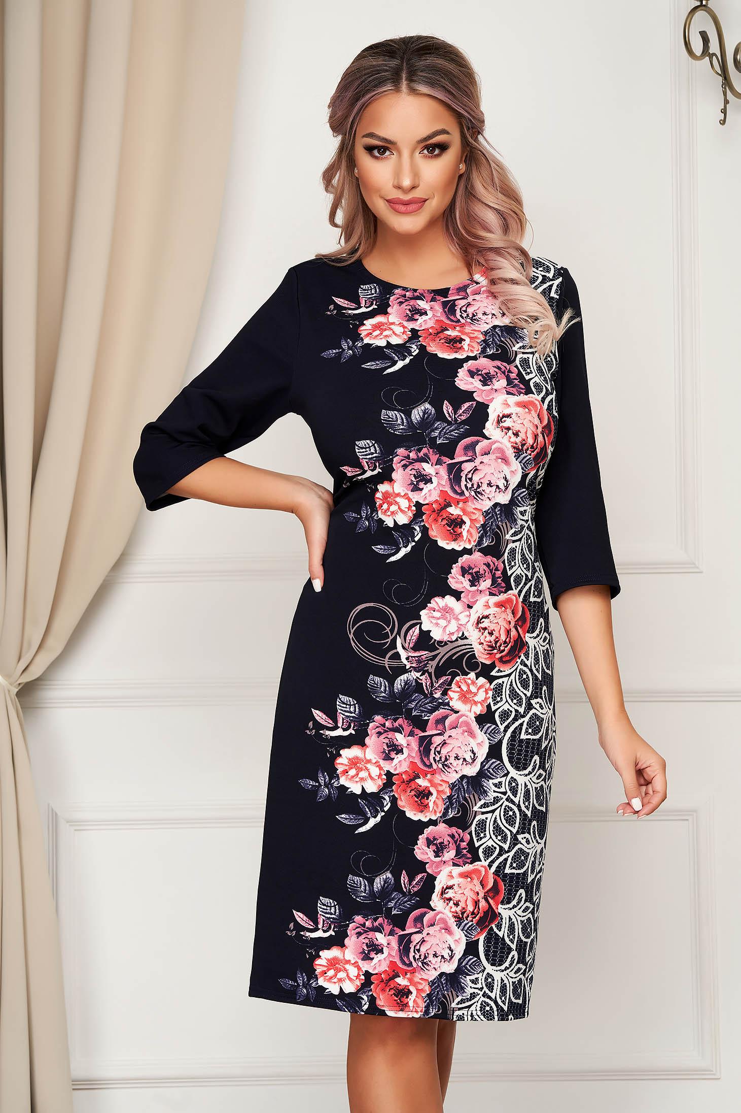 Pink dress midi daily thin fabric straight