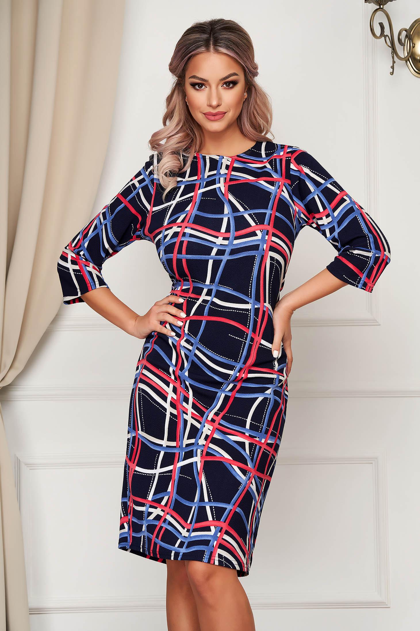 Darkblue dress midi daily thin fabric straight