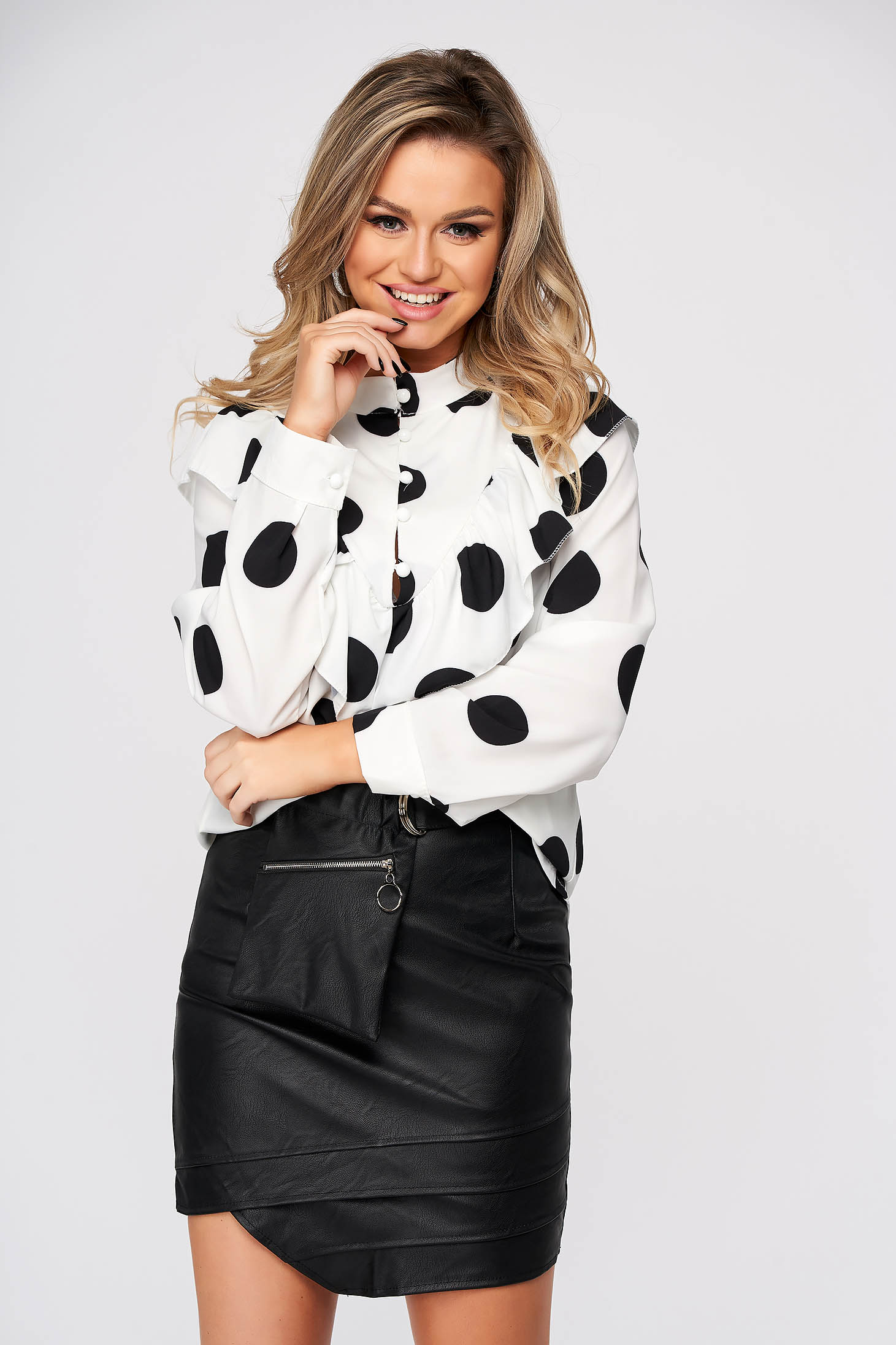 White women`s shirt casual flared with ruffle details thin fabric dots print