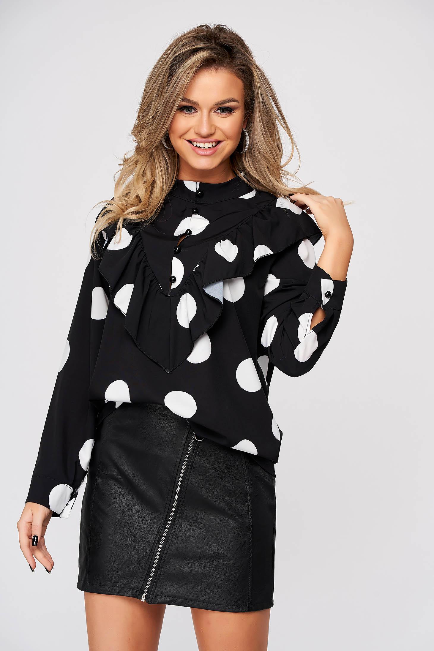 Black women`s shirt casual flared with ruffle details thin fabric dots print