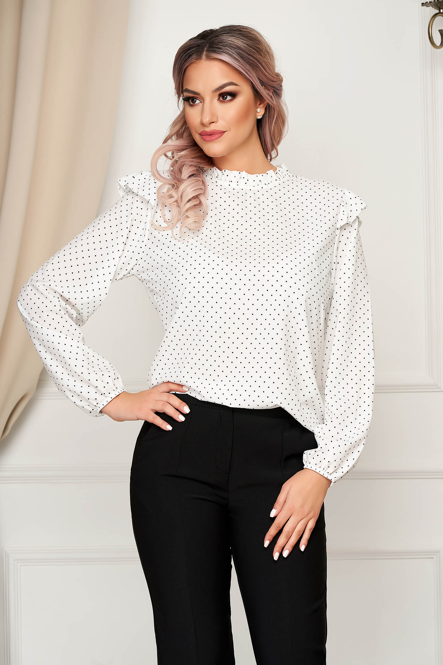 White women`s blouse office flared thin fabric with ruffle details dots print