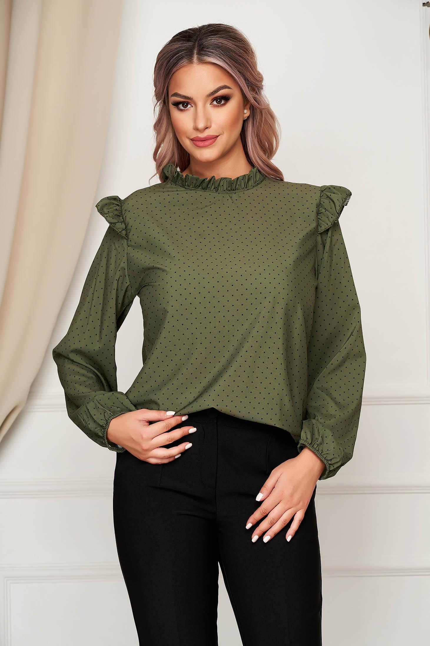 Bluza dama SunShine verde-inchis office cu croi larg din material subtire cu volanase si buline