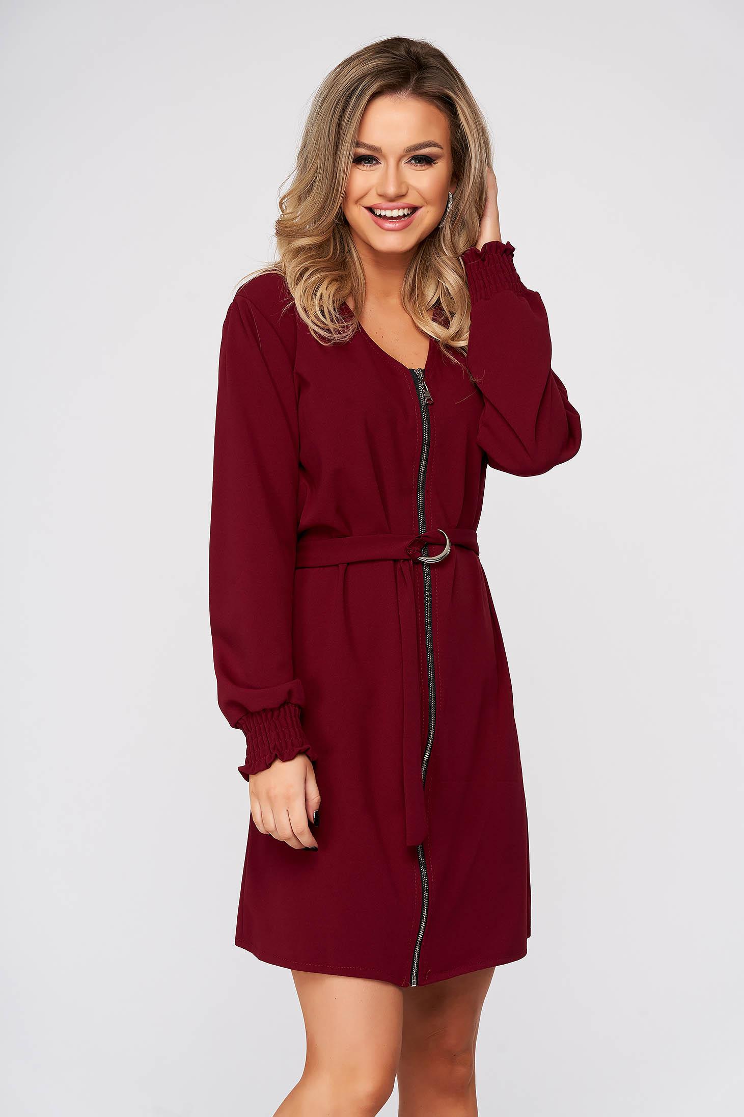 Burgundy dress daily straight with v-neckline accessorized with tied waistband