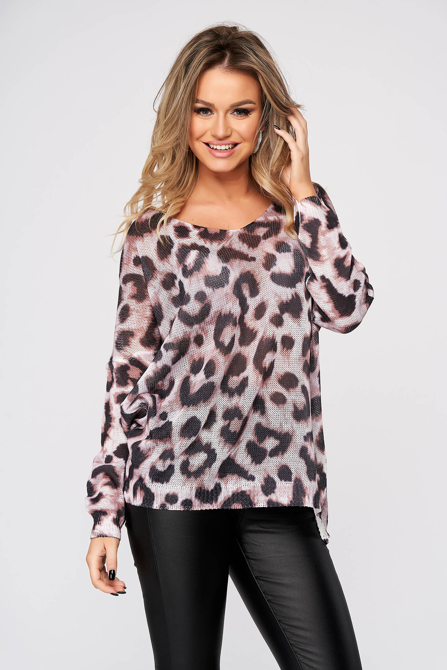 Pink women`s blouse casual flared with v-neckline knitted fabric animal print