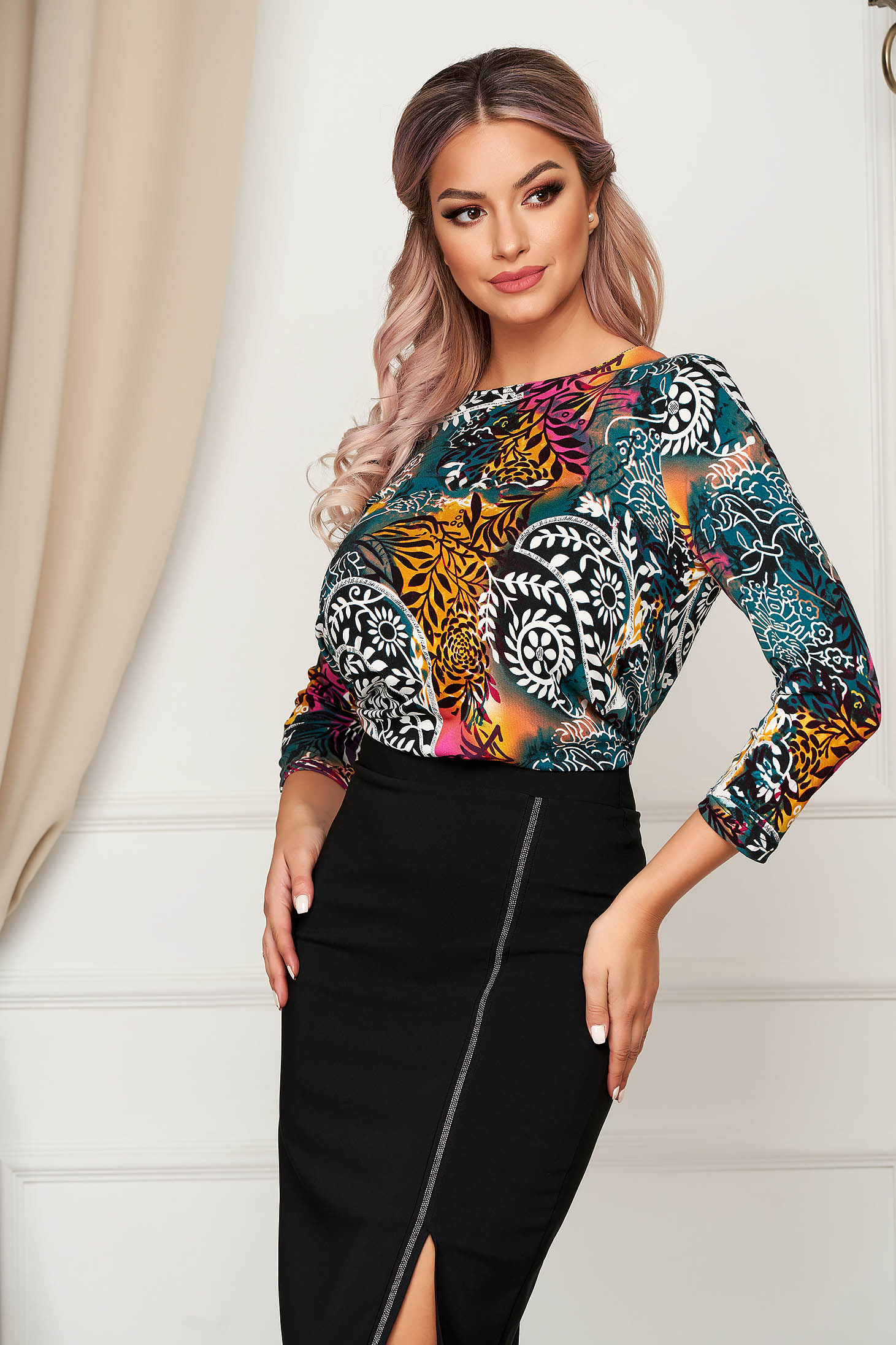 Turquoise women`s blouse office flared thin fabric