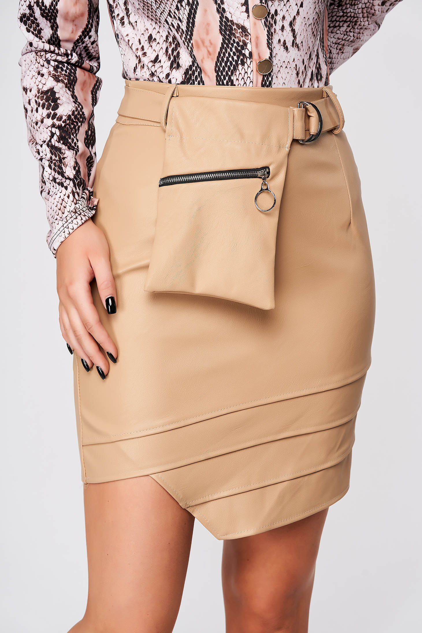 Cream skirt casual short cut from ecological leather asymmetrical