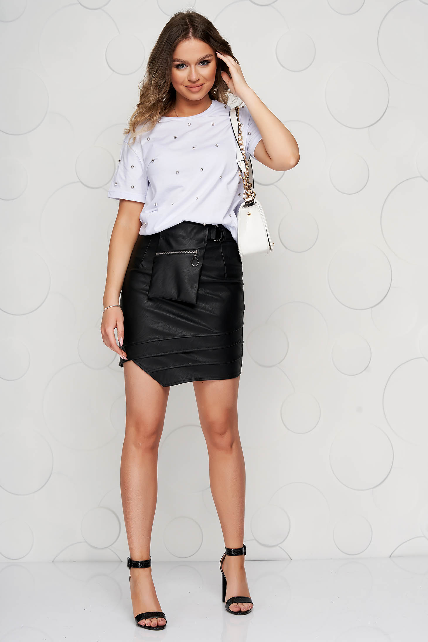 Black skirt casual short cut from ecological leather asymmetrical