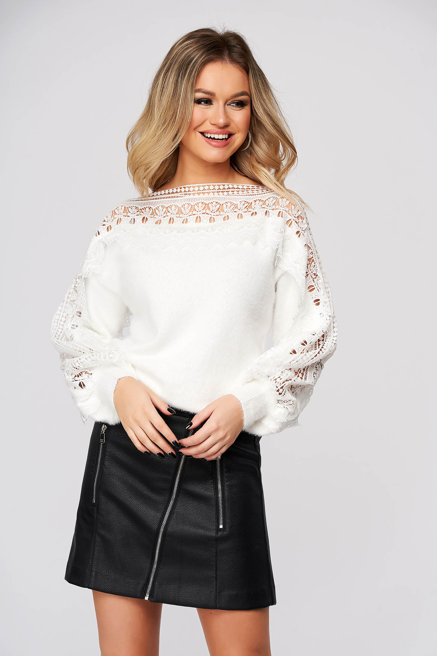 White sweater casual flared knitted fabric guipure