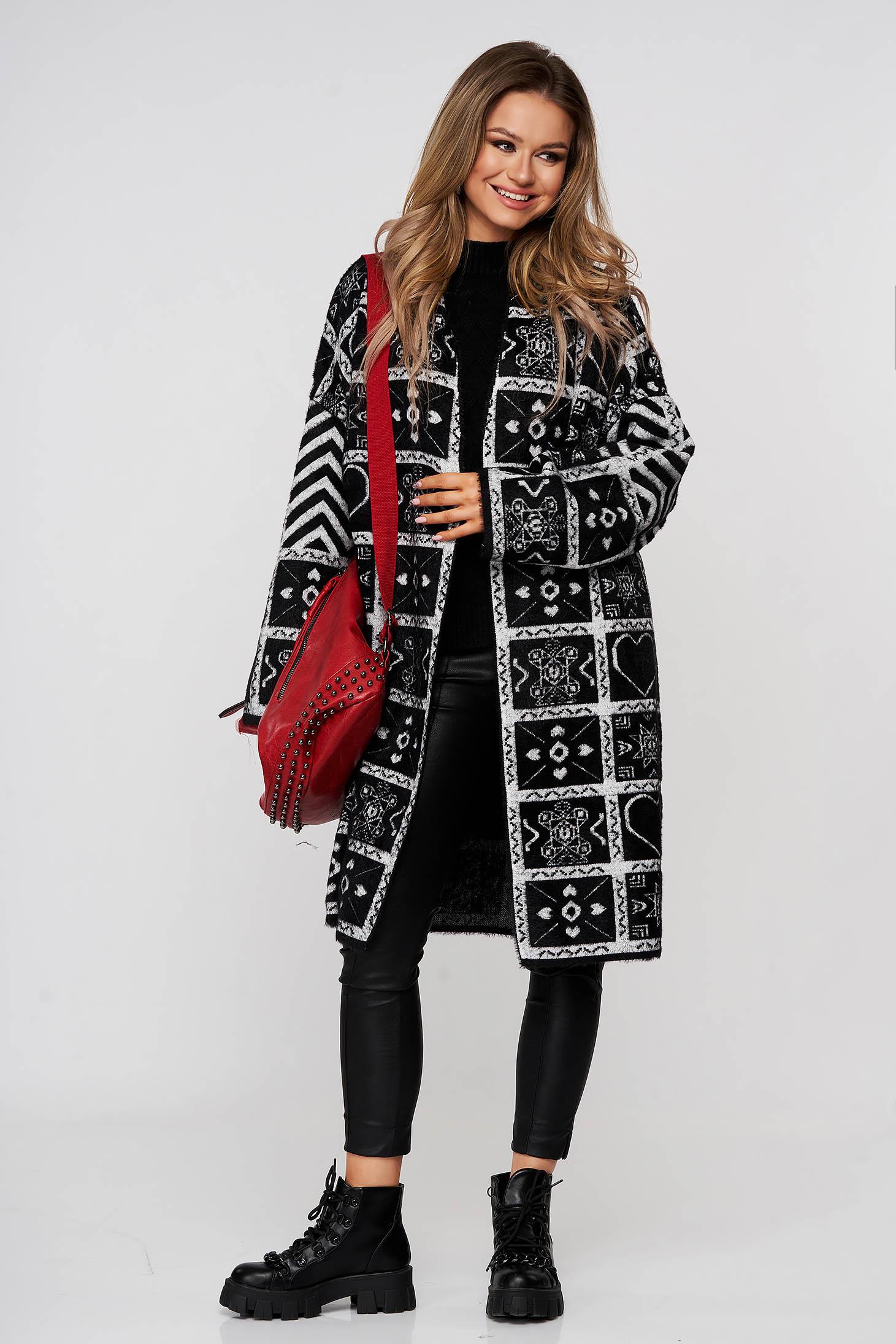 Pardesiu SunShine negru elegant lung din lana si angora cu croi larg