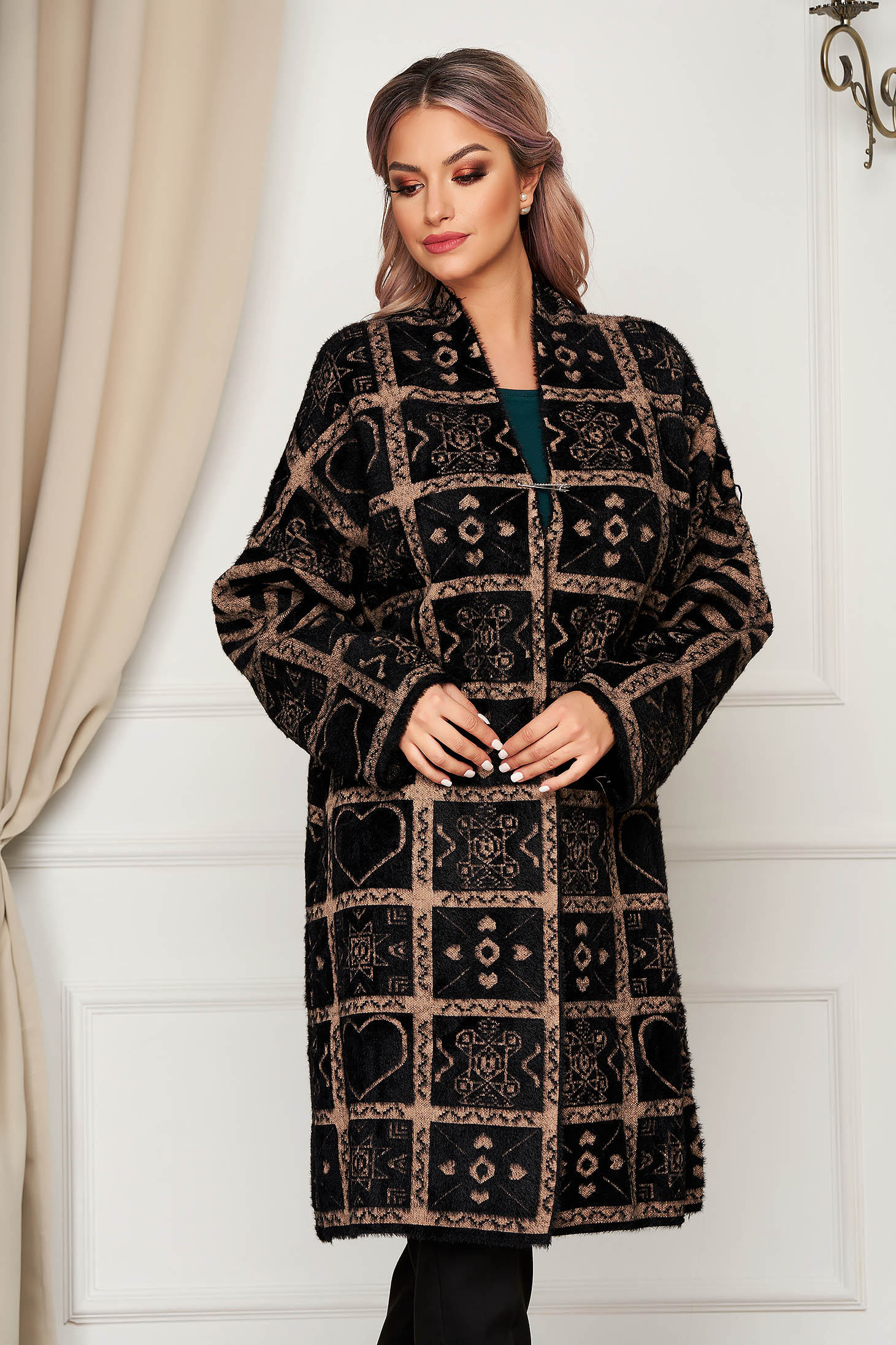 Brown cardigan elegant long wool with easy cut