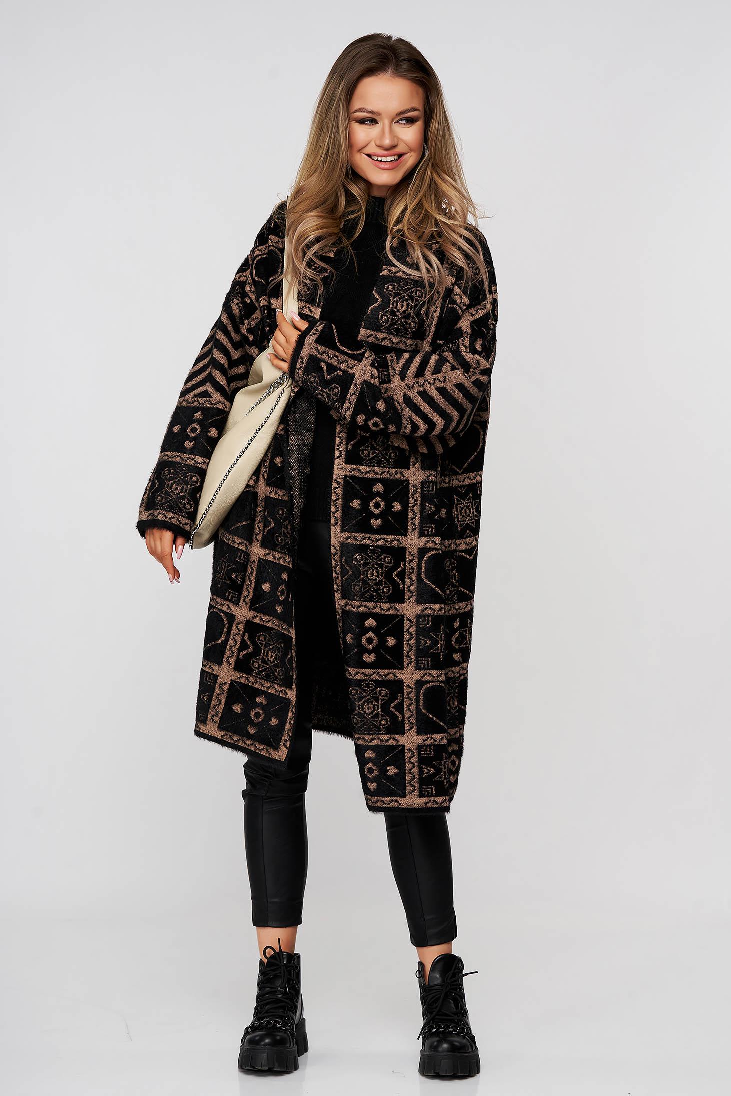 Pardesiu SunShine maro elegant lung din lana si angora cu croi larg