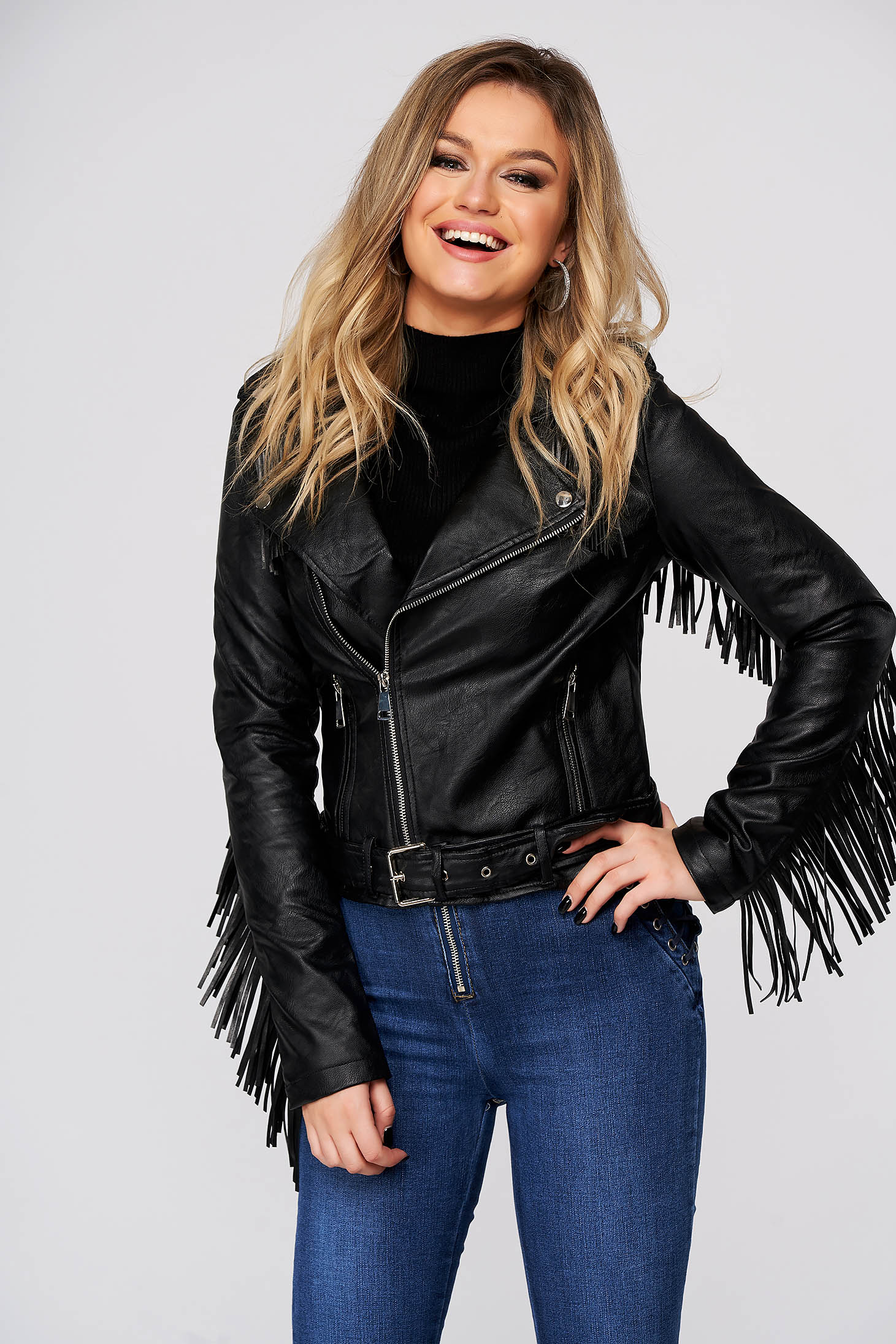 Black jacket casual short cut from ecological leather fringes