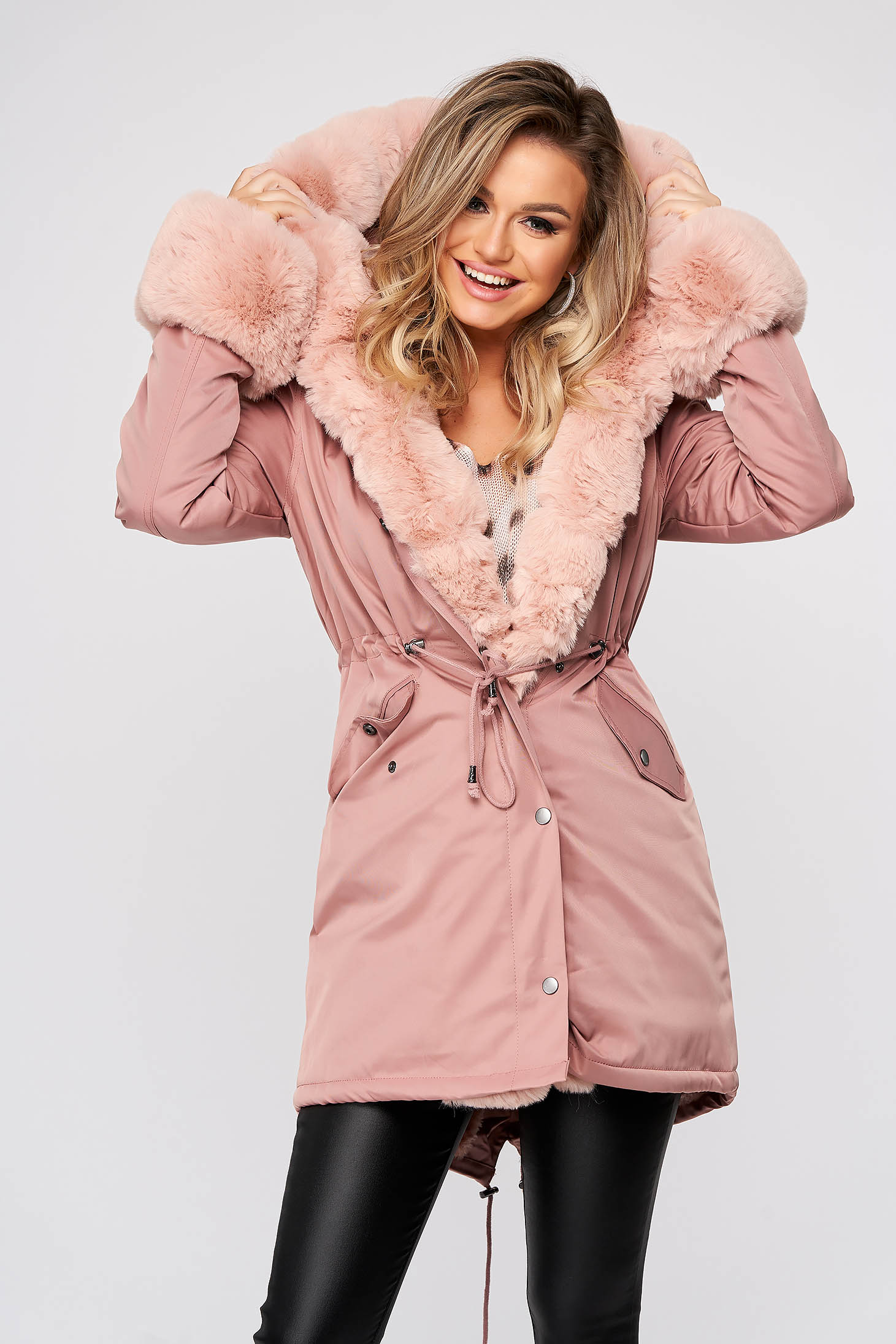 Pink jacket casual from thick fabric with faux fur lining with pockets