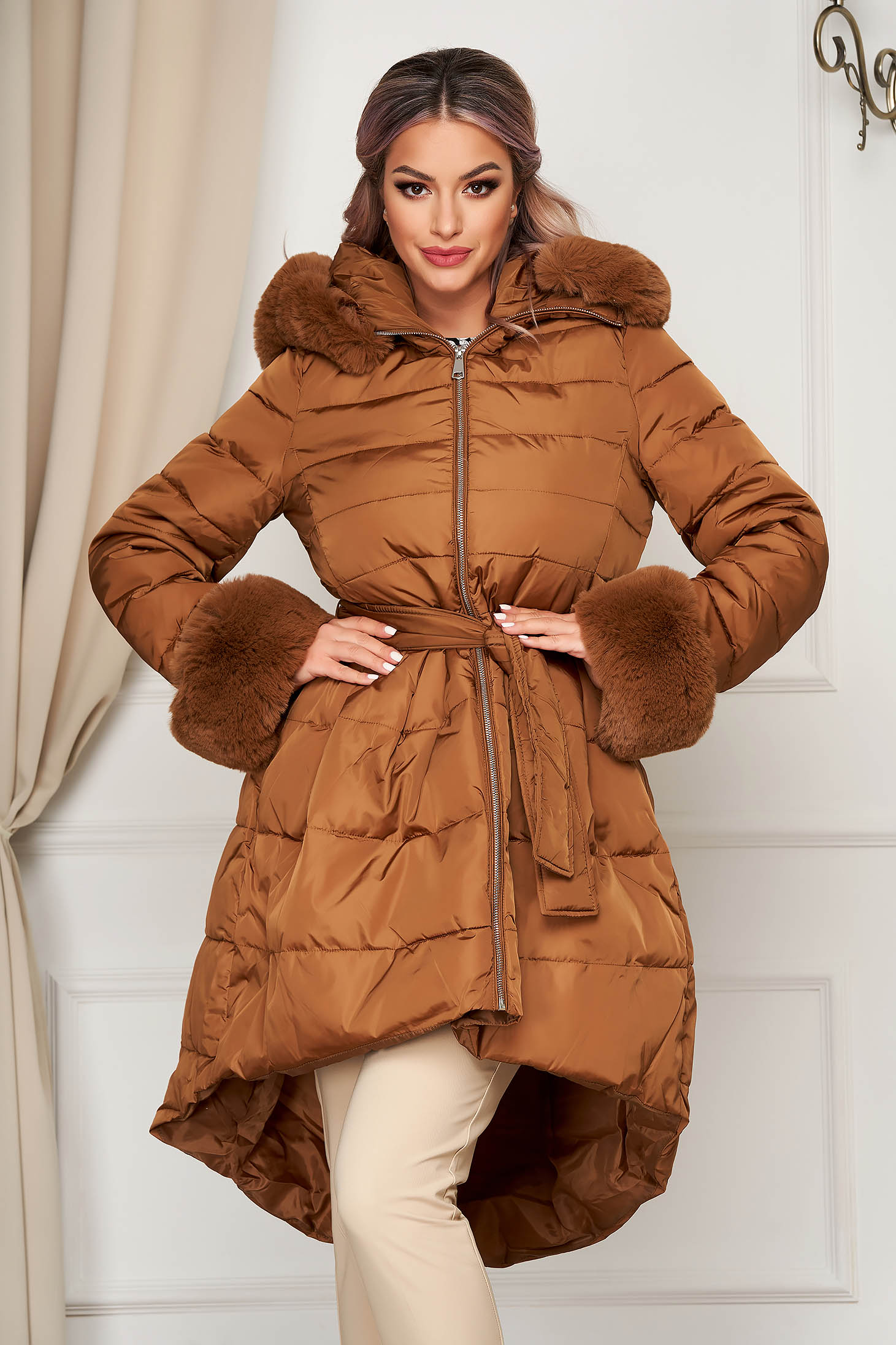 Brown jacket casual from slicker asymmetrical with faux fur accessory