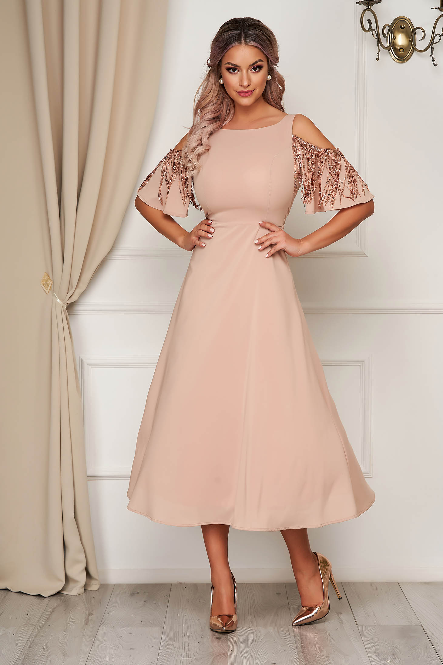 StarShinerS cream dress occasional midi cloche voile fabric with sequin embellished details