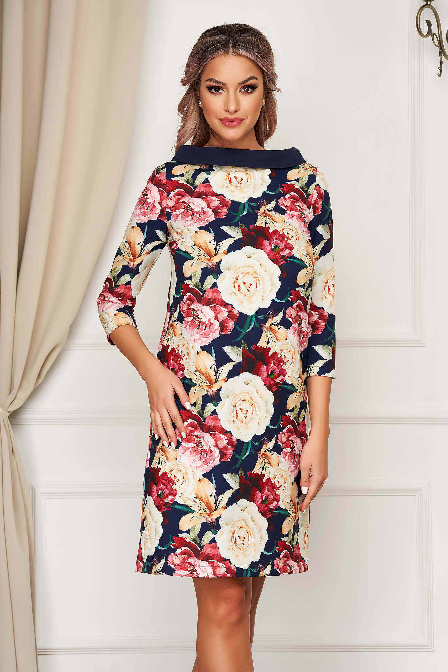 Short cut daily darkblue dress StarShinerS from non elastic fabric flared