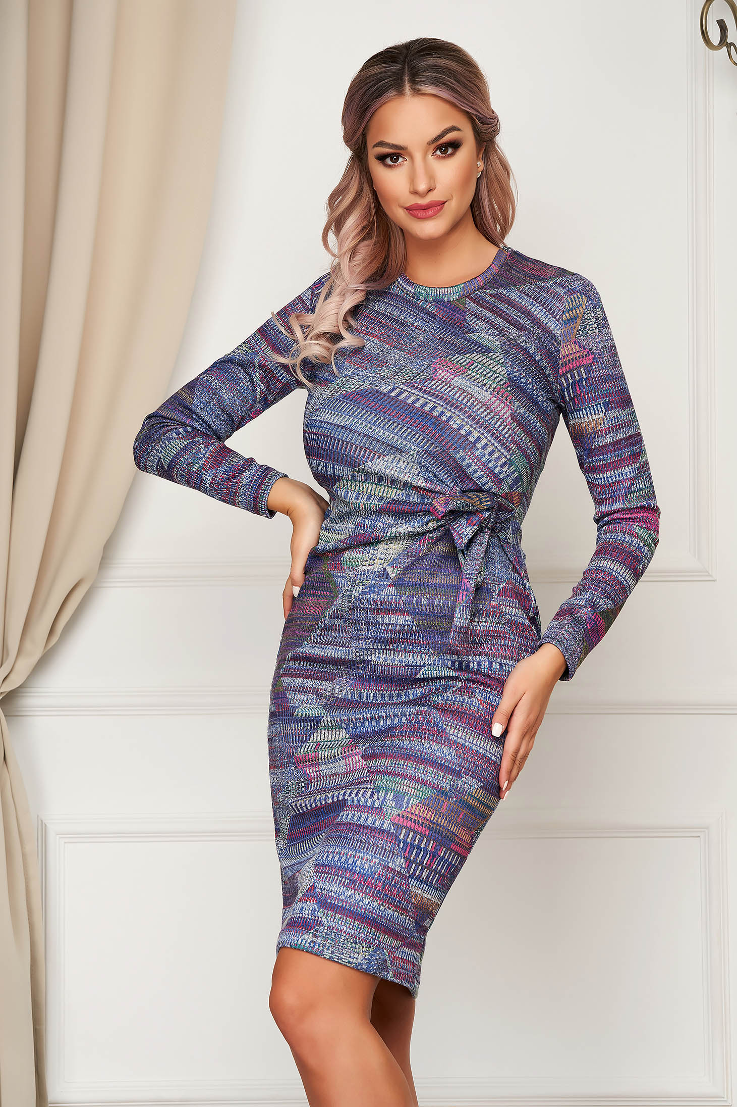 Rochie StarShinerS albastra midi de zi tip creion din material tricotat
