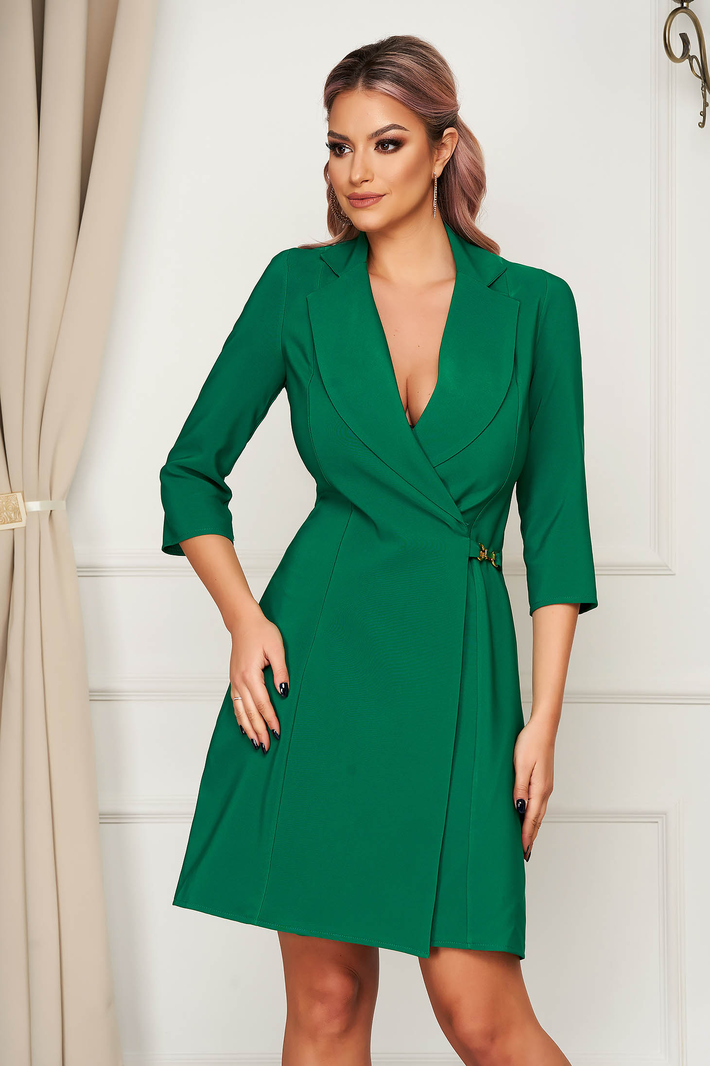 Elegant short cut pencil green dress wrap around cloth thin fabric