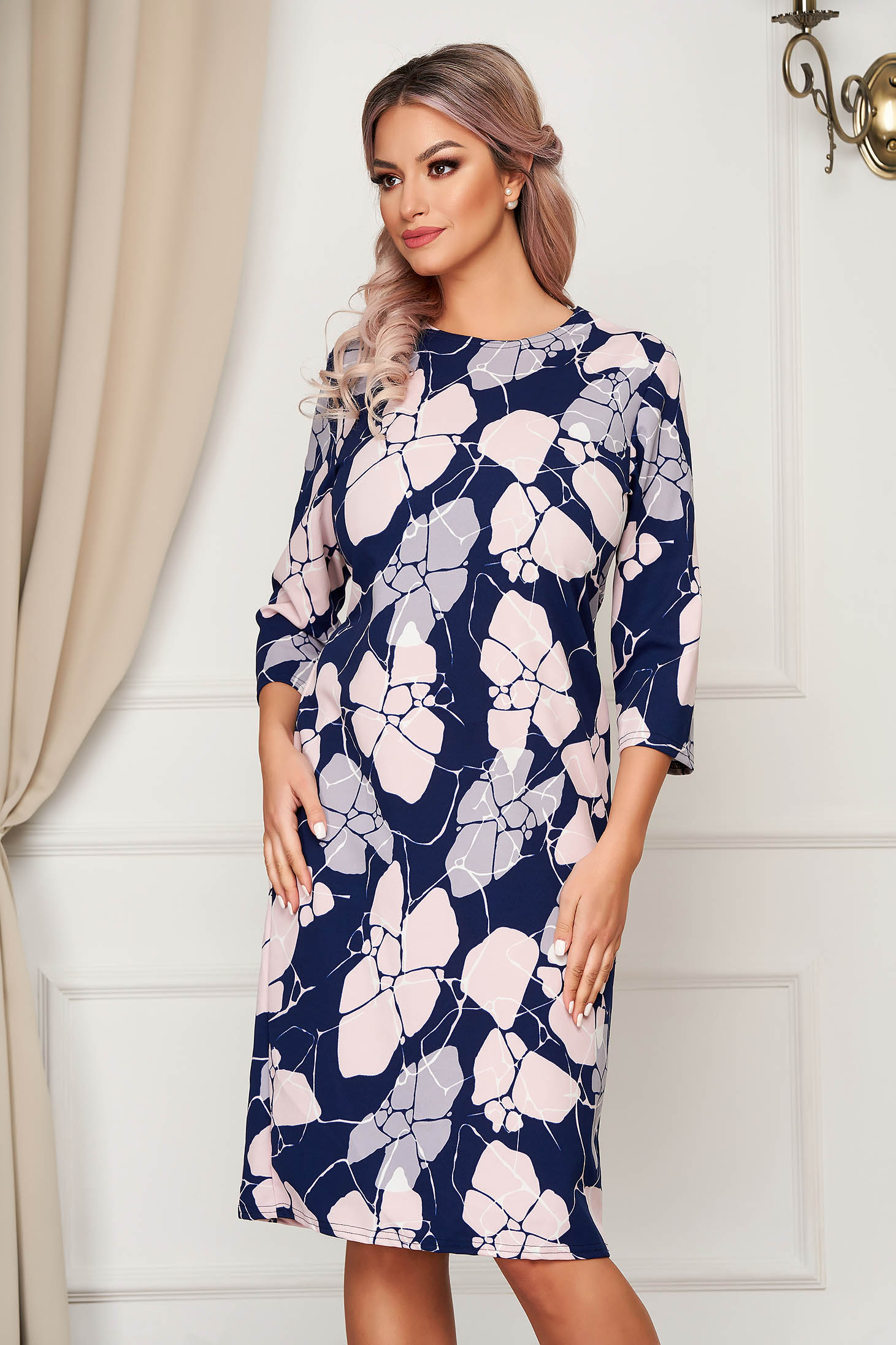 Darkblue dress midi daily from elastic fabric thin fabric straight