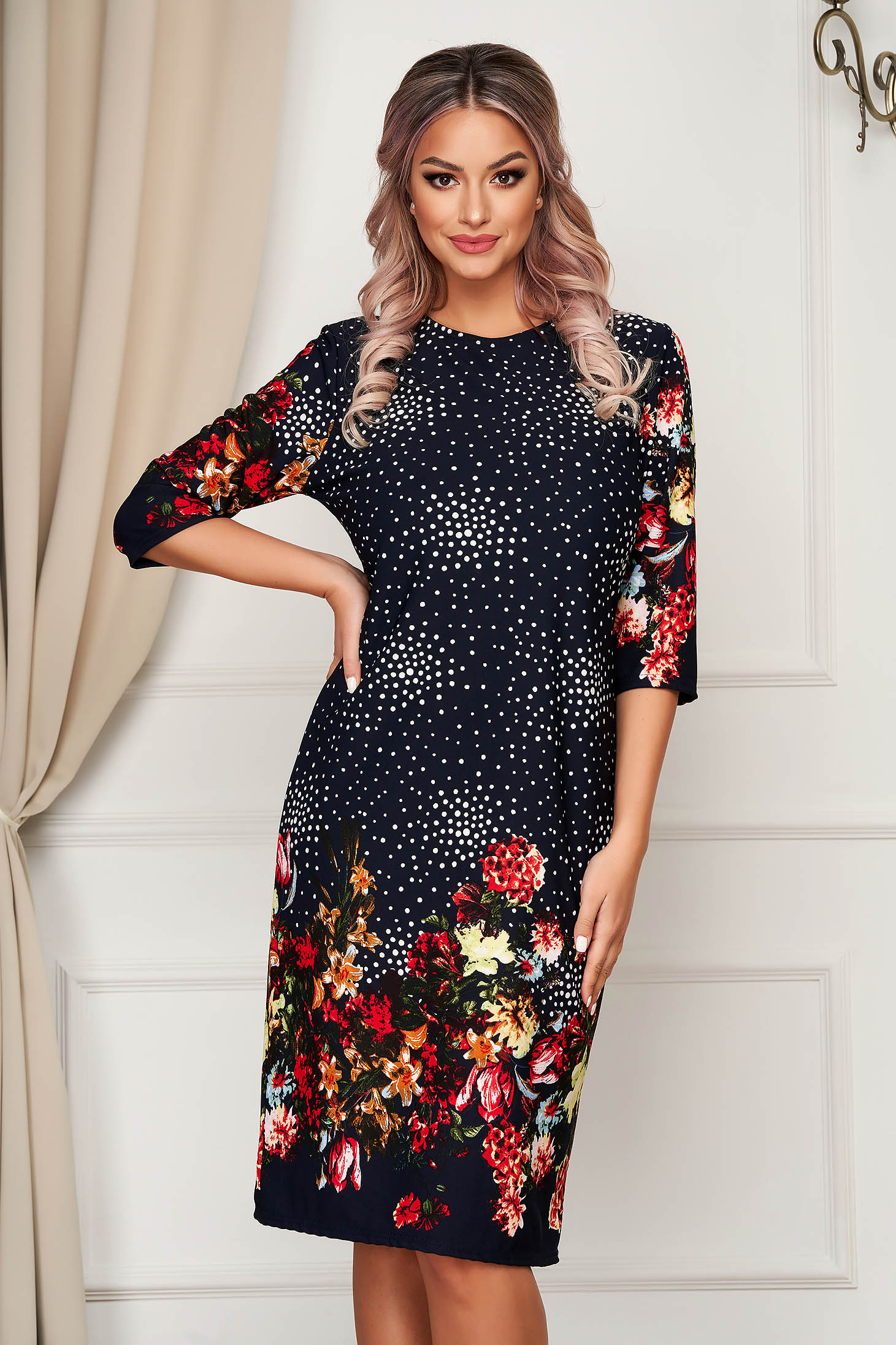 Black dress daily midi thin fabric with floral print straight