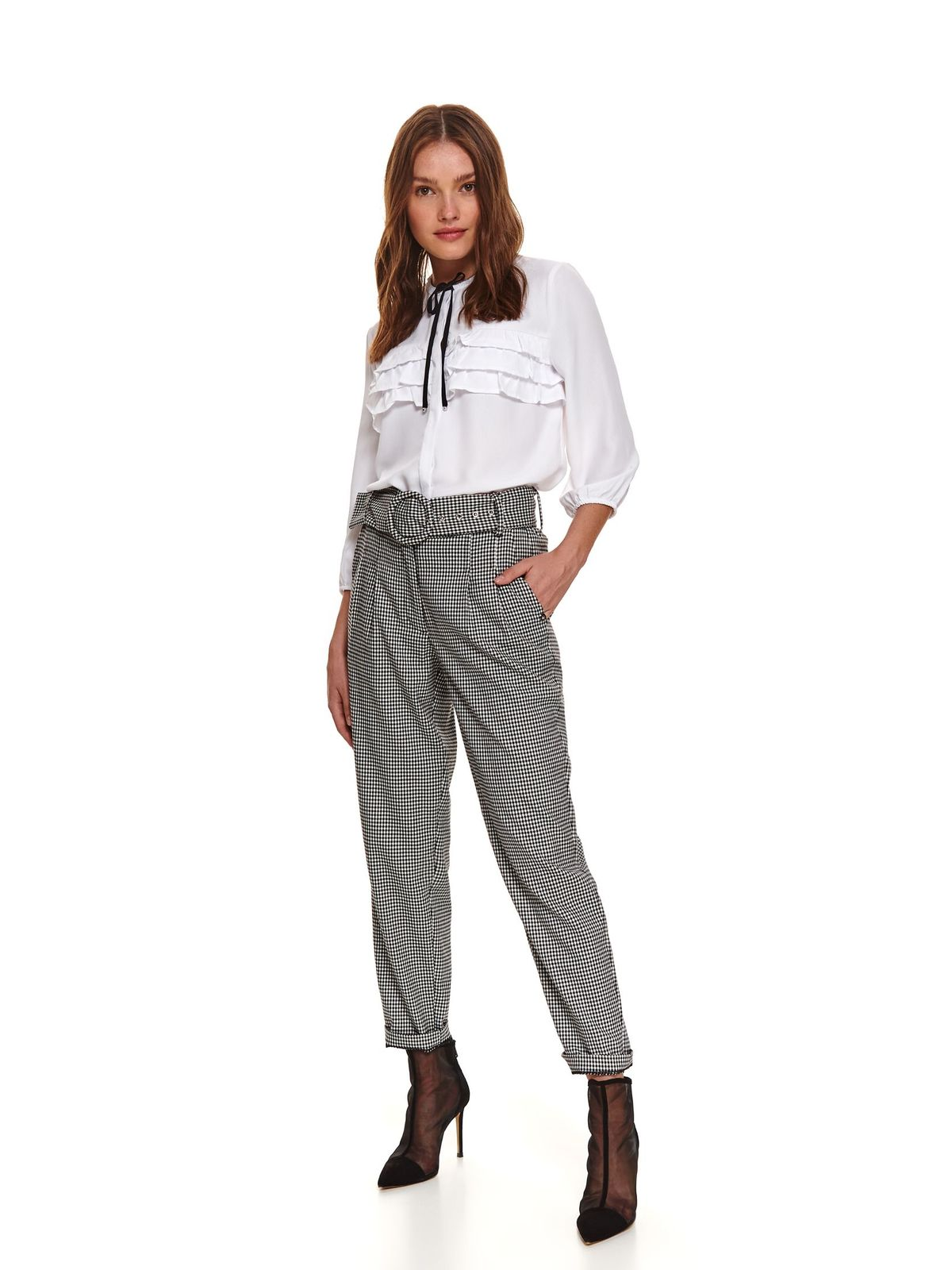 White women`s blouse casual flared thin fabric with ruffles on the chest