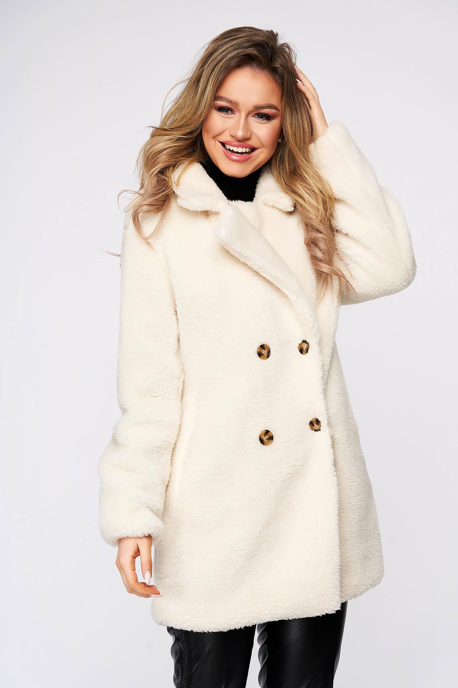 Palton Top Secret alb casual cu croi larg din material pufos