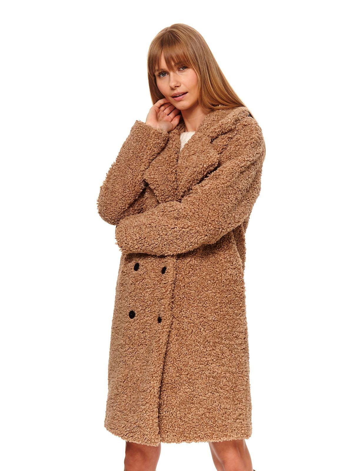 Palton Top Secret crem casual cu croi larg din material pufos