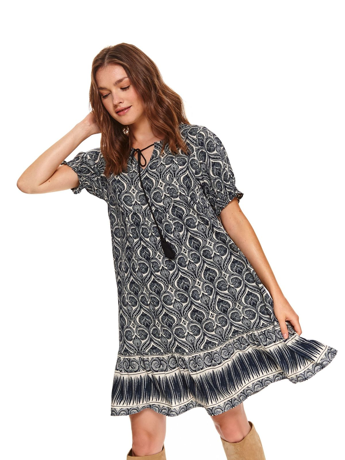 Darkblue dress short cut daily flared thin fabric
