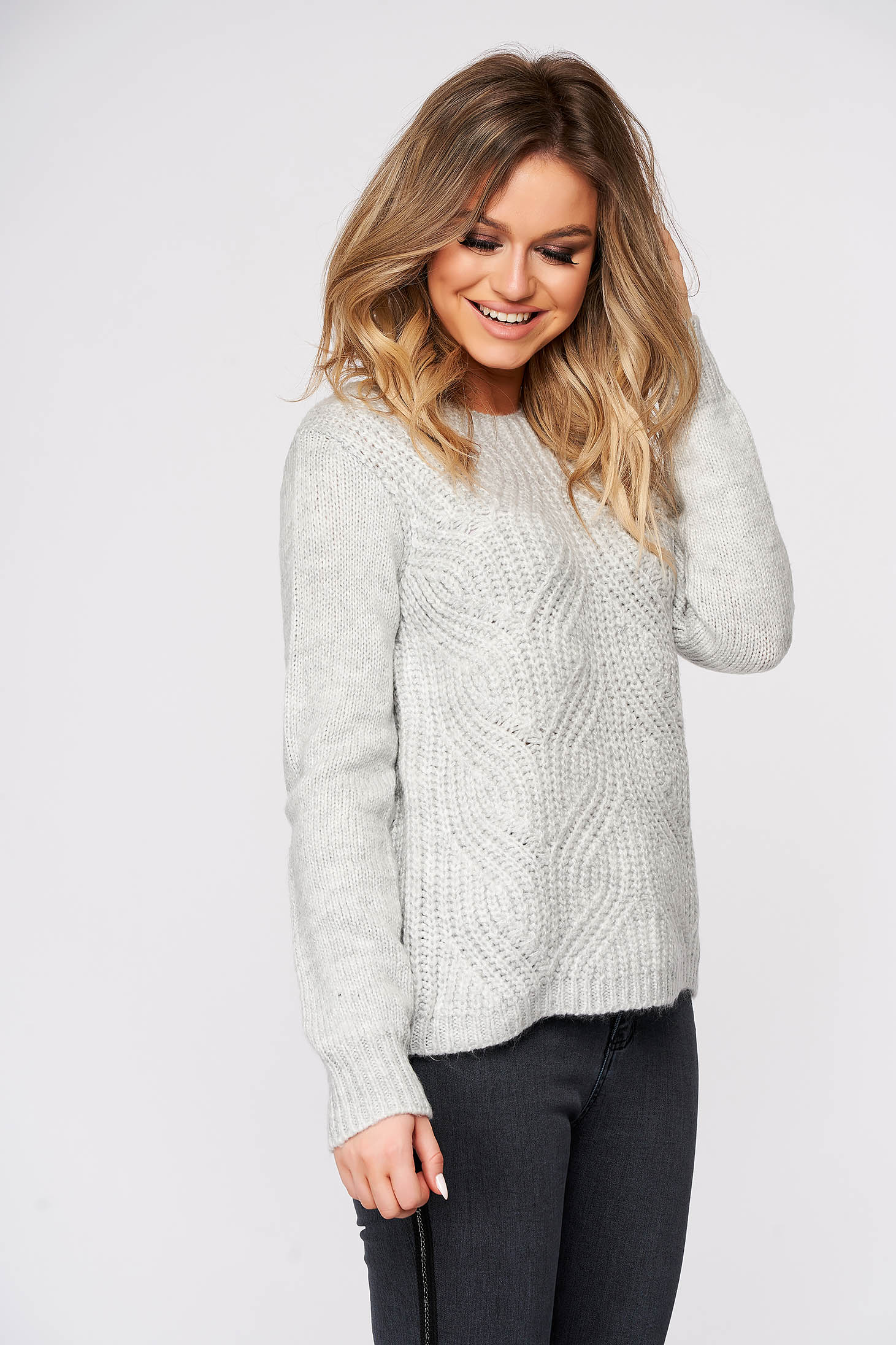 Lightgrey sweater casual flared knitted fabric