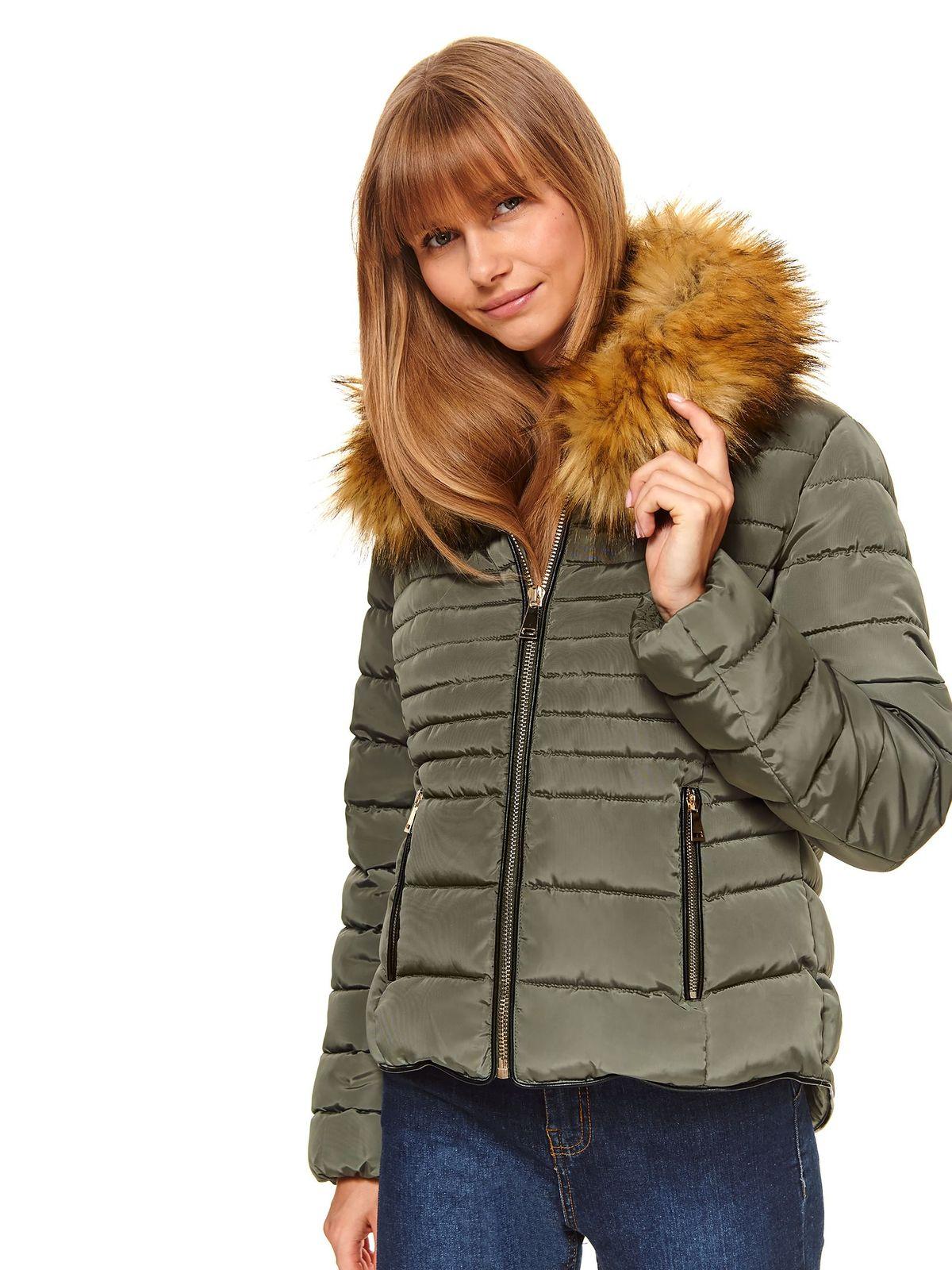 Green jacket casual short cut from slicker the jacket has hood and pockets