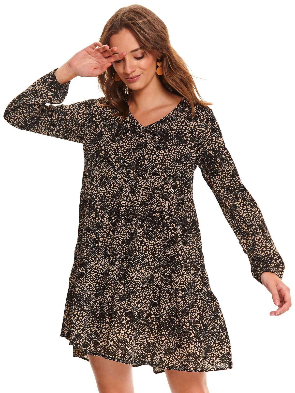 Fekete rövid bő szabású ruha v-dekoltázzsal