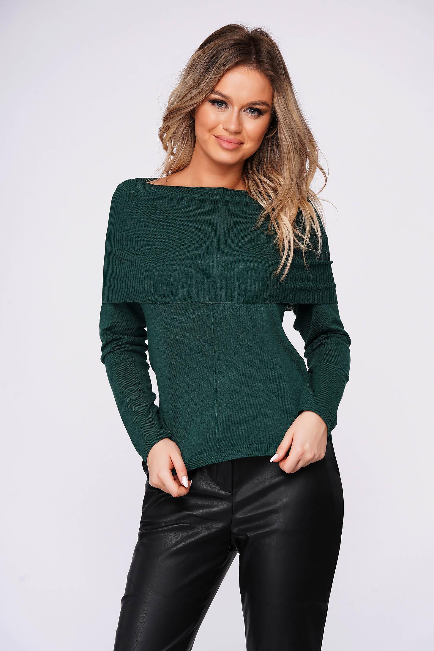 Sötétzöld casual kötött pulóver hosszú ujjakkal